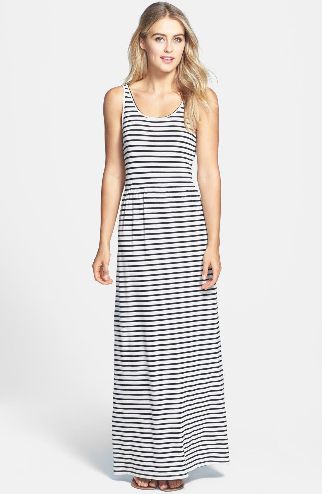 Main Image - Two by Vince Camuto 'Rising Stripe' Back Cutout Sleeveless Maxi Dress