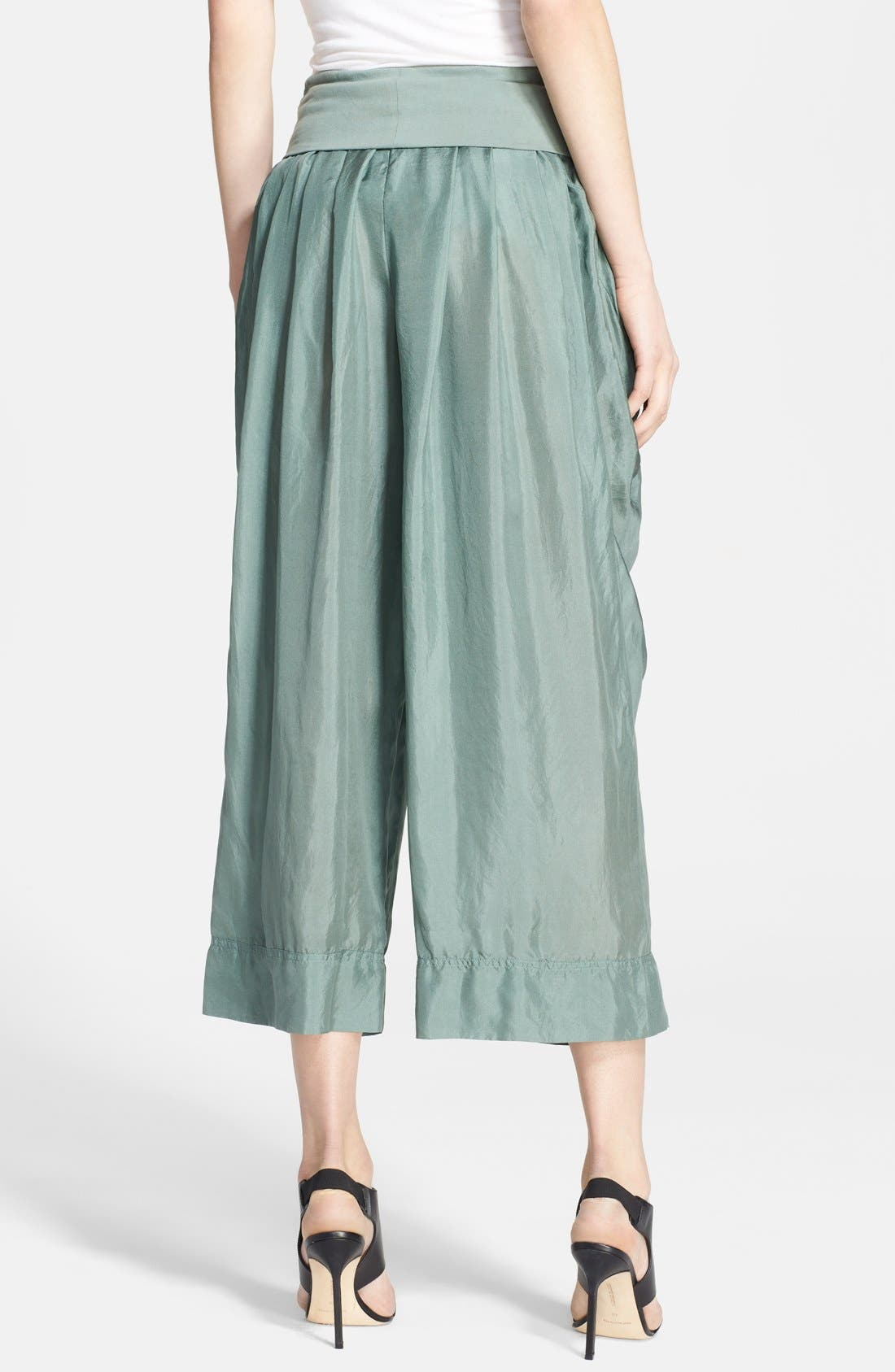 Alternate Image 2  - Donna Karan Collection Silk Wide Leg Cropped Pants