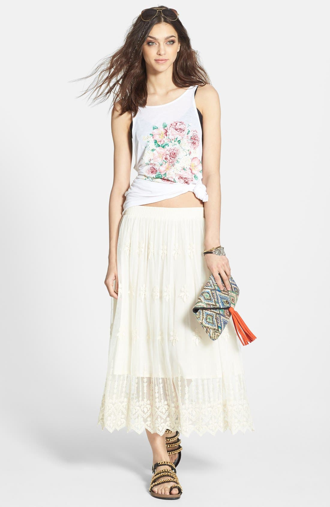 Alternate Image 4  - ASTR Embroidered Lace Midi Skirt
