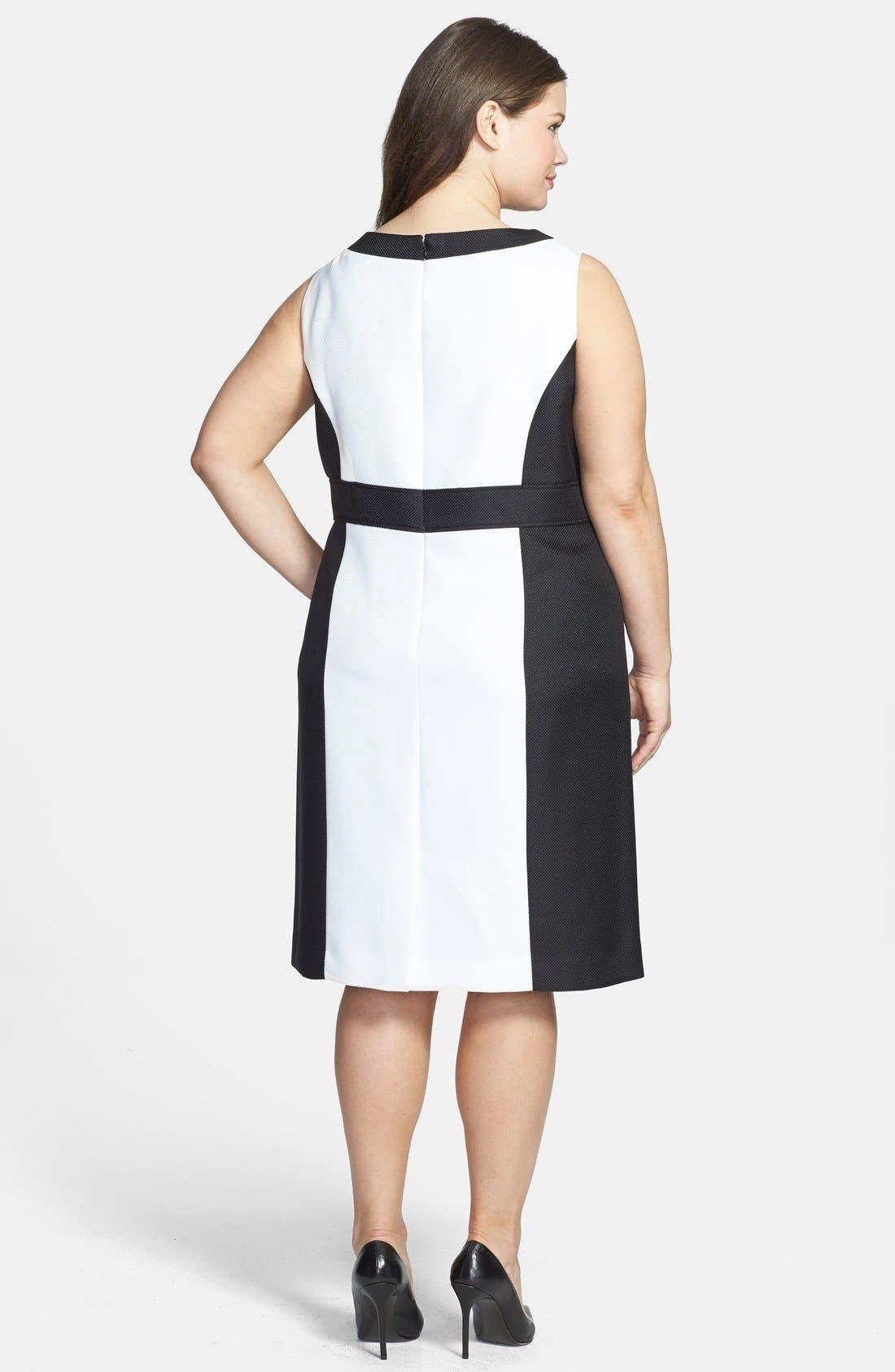 Alternate Image 2  - Tahari by ASL Colorblock Split V-Neck Sheath Dress (Plus Size)
