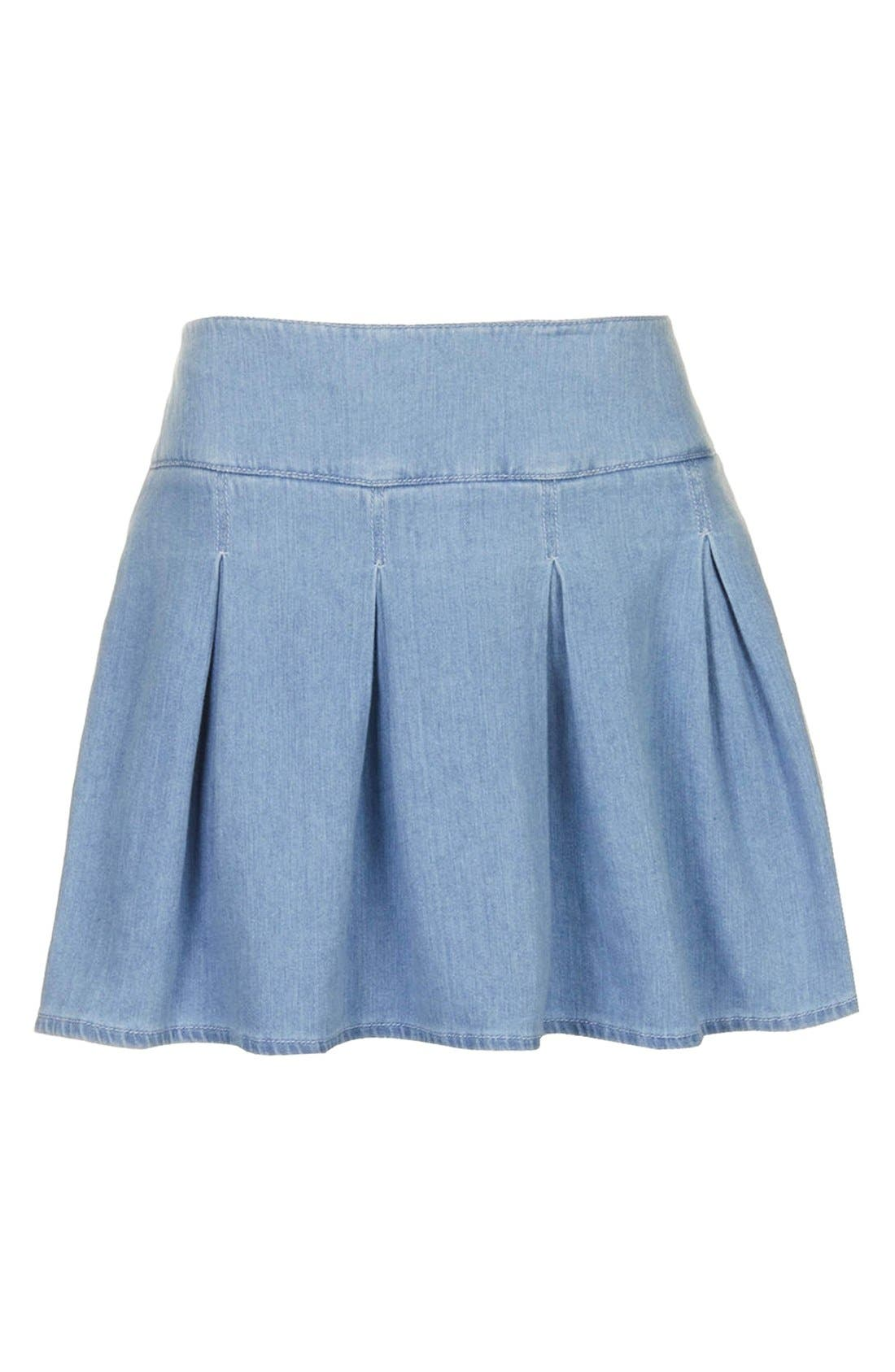 Moto Pleat Denim Skirt,                             Alternate thumbnail 3, color,                             Blue