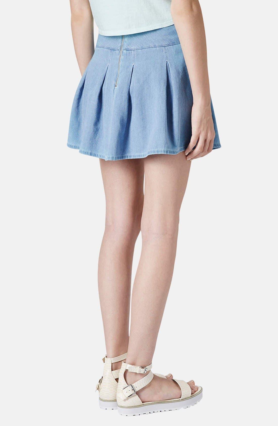 Moto Pleat Denim Skirt,                             Alternate thumbnail 2, color,                             Blue