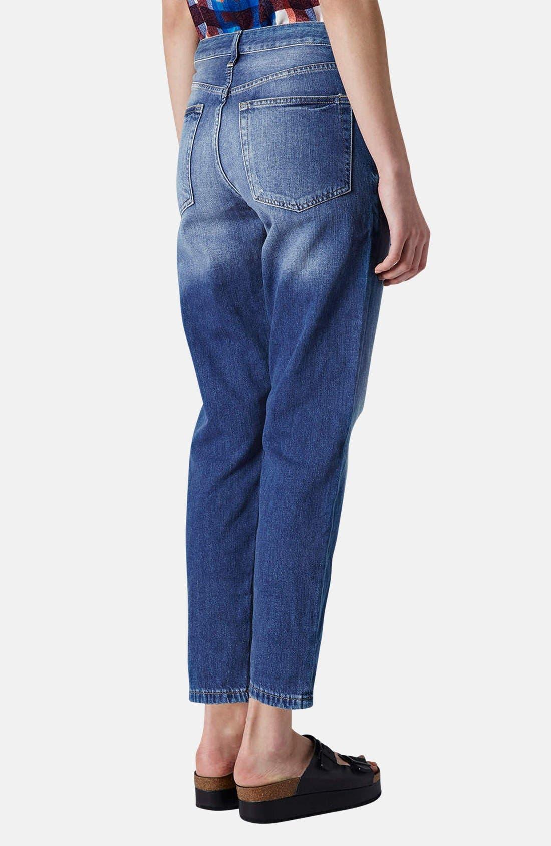 Alternate Image 2  - Topshop Moto 'Hayden' Destroyed Boyfriend Jeans (Mid Denim) (Regular & Short)
