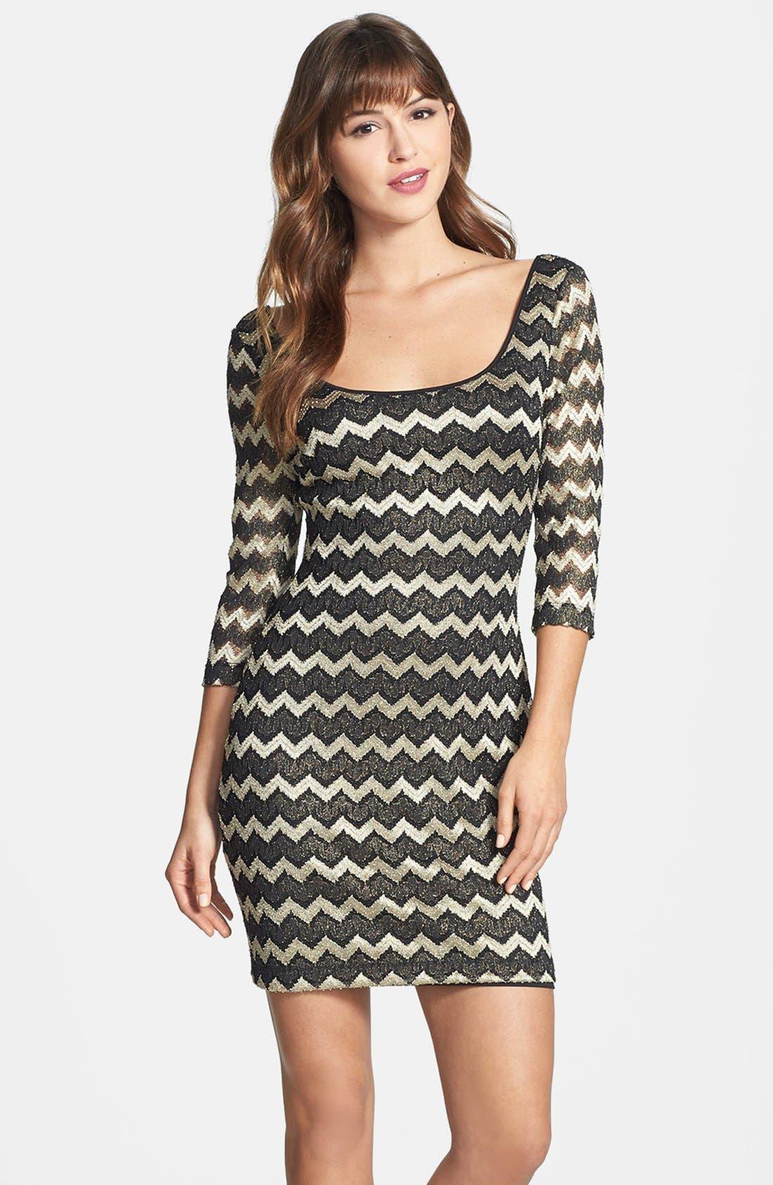 Main Image - GUESS Metallic Stripe Lace Sheath Dress