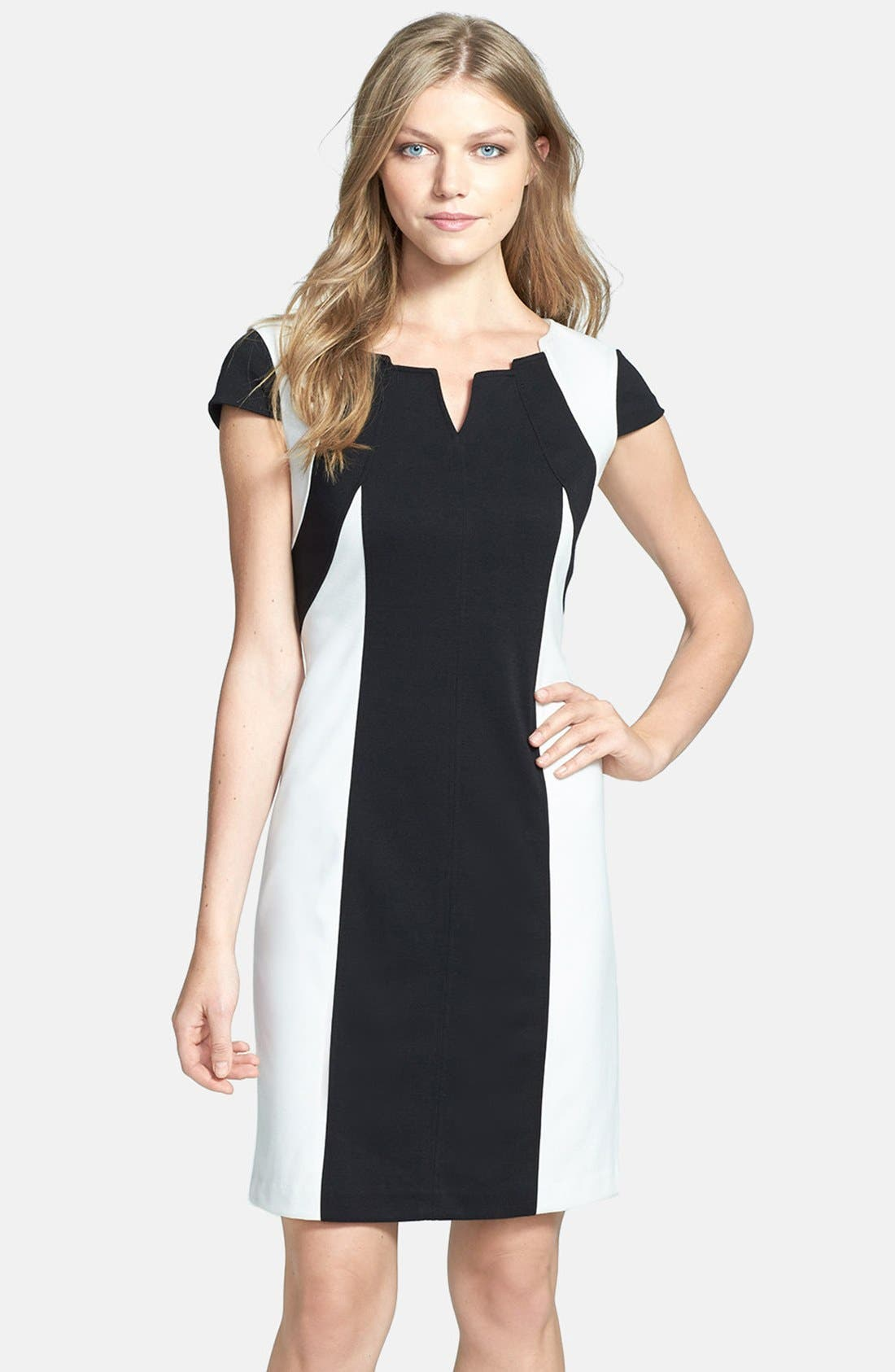 Main Image - Ellen Tracy Colorblock Ponte Sheath Dress