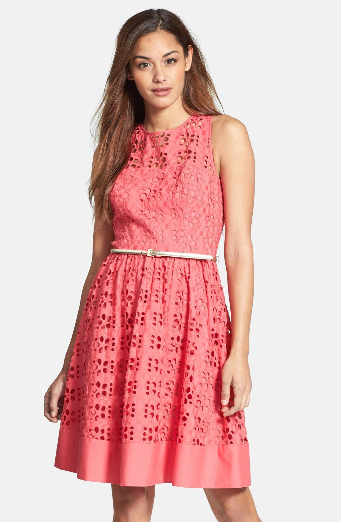 Main Image - Eliza J Cotton Eyelet Belted Fit & Flare Dress (Regular & Petite)