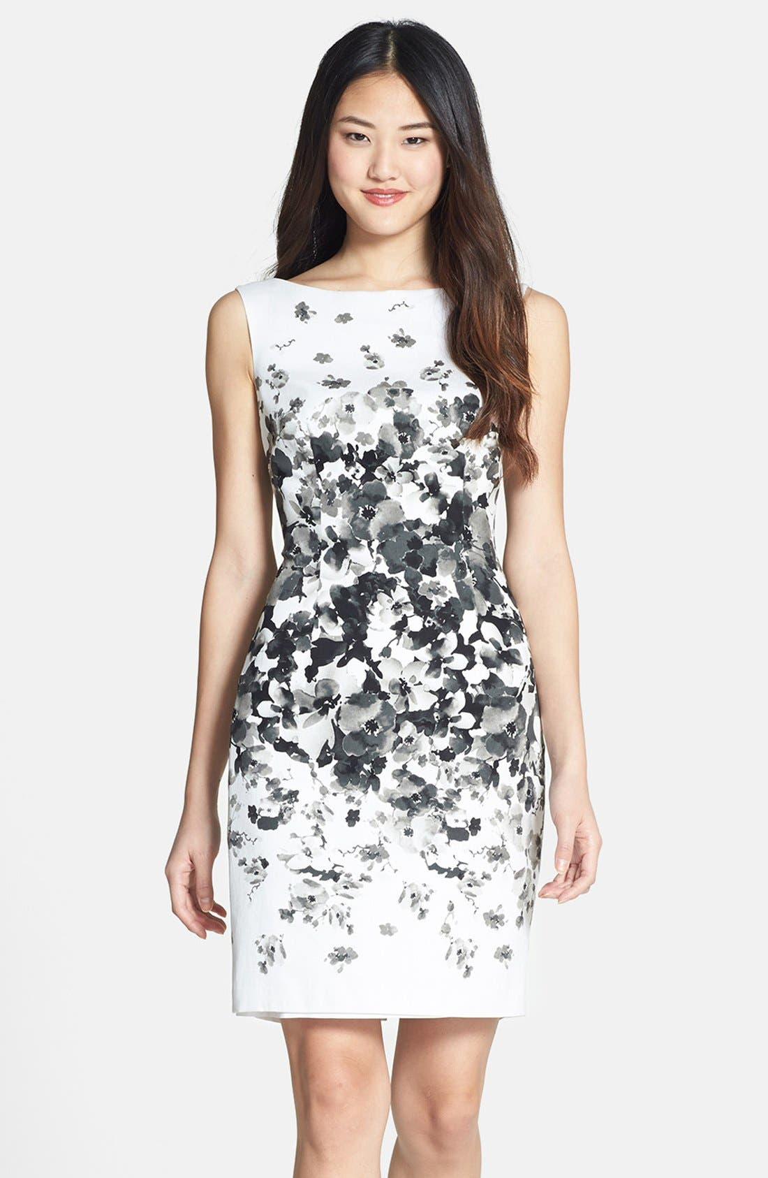 Main Image - Maggy London Print Bateau Neck Cotton Sheath Dress (Regular & Petite)