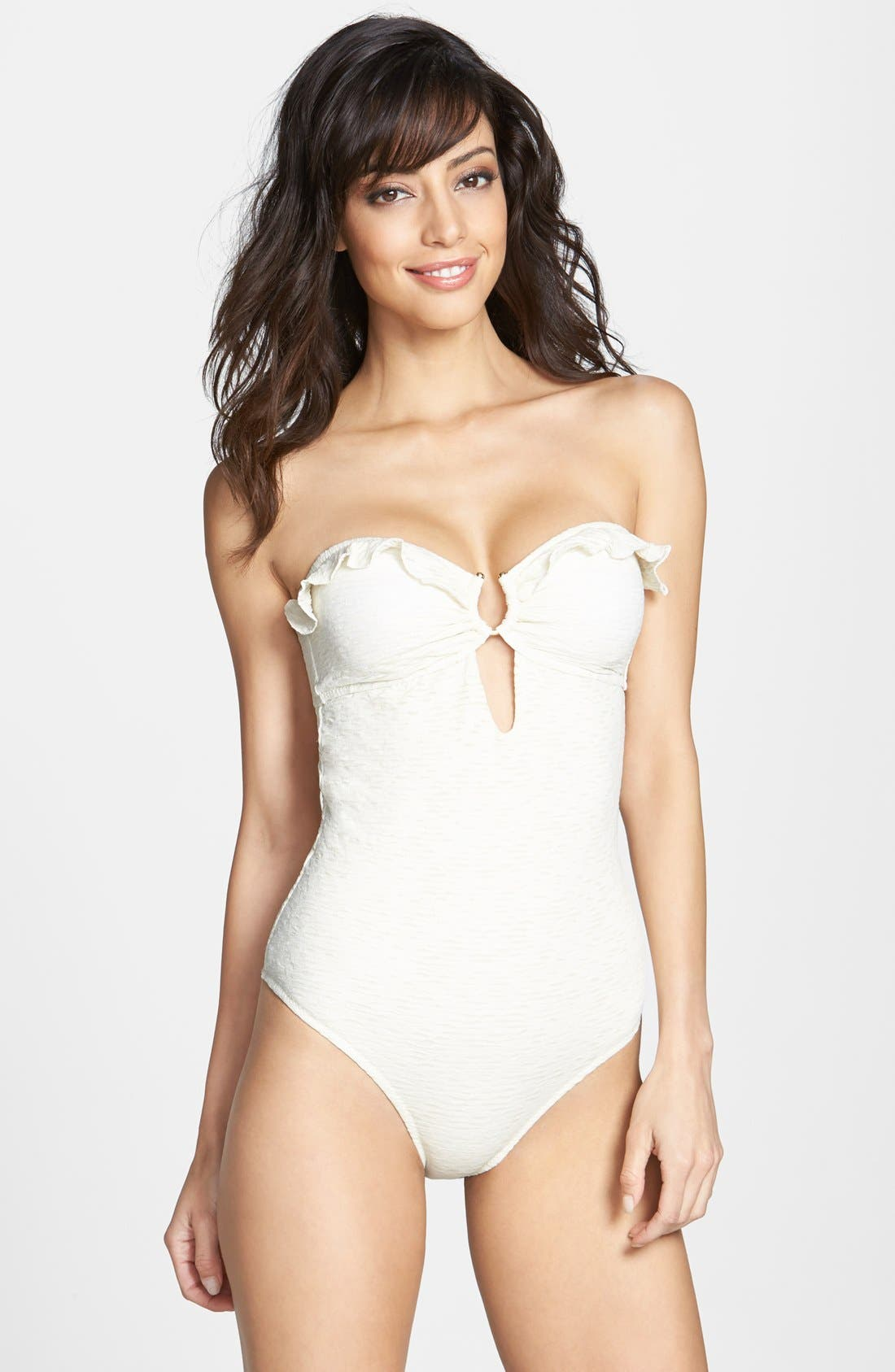 Alternate Image 1 Selected - Eberjey 'El Mirage Mimi' Ruffle Trim Burnout One-Piece Swimsuit