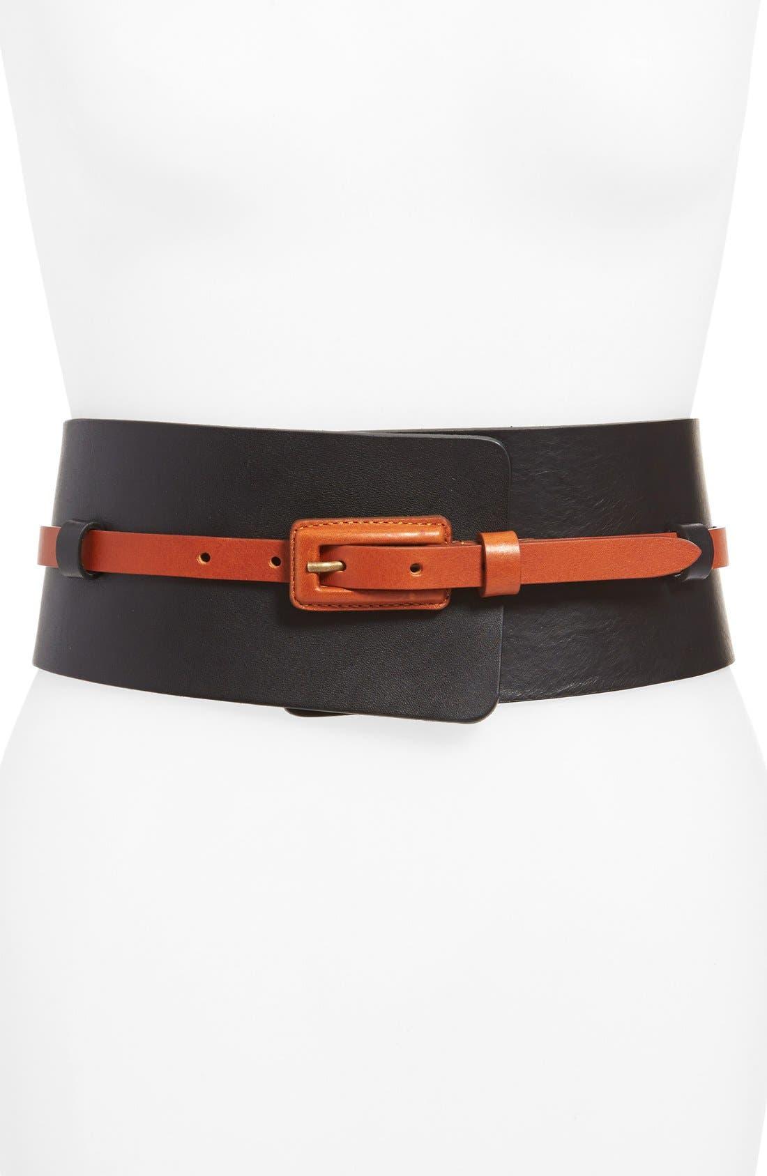 Alternate Image 1 Selected - Lafayette 148 New York Leather Obi with Detachable Skinny Belt