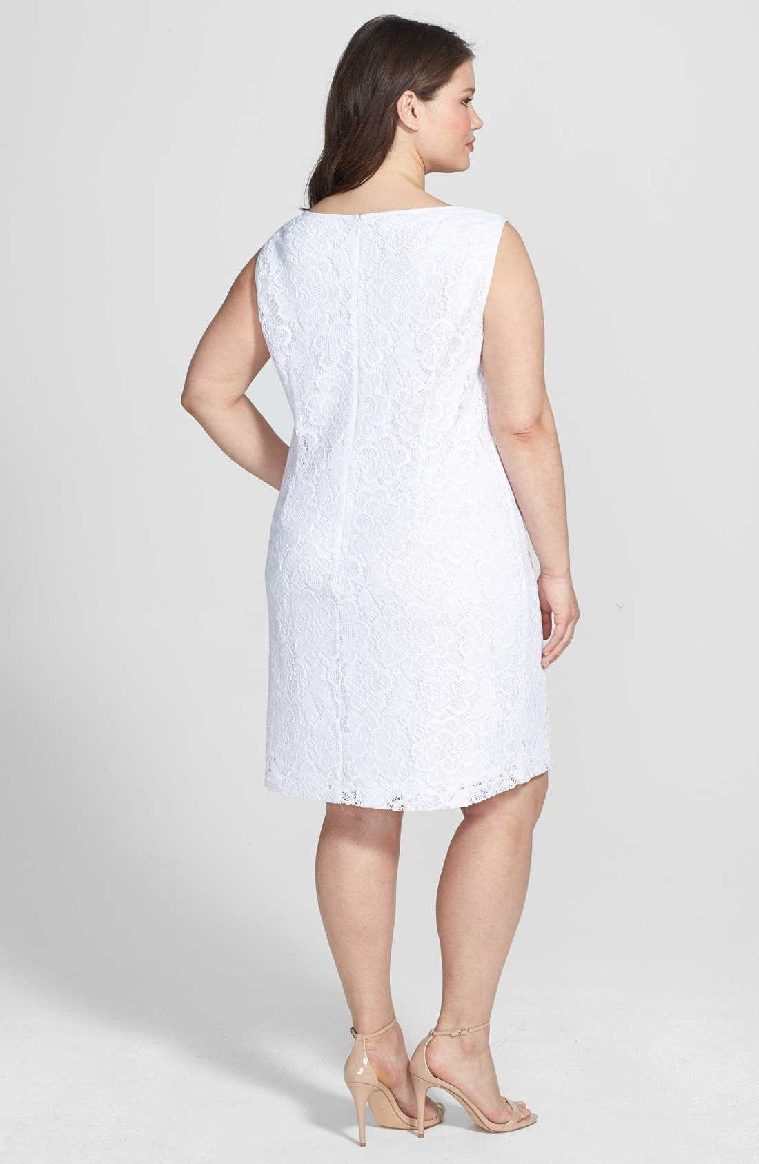 Alternate Image 2  - London Times Sleeveless Lace Sheath Dress (Plus Size)