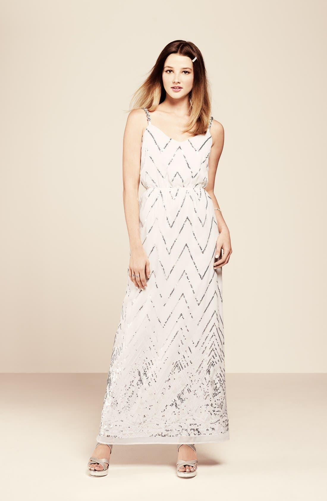 Alternate Image 4  - Secret Charm Twist Back Chevron Sequin Maxi Dress (Juniors)