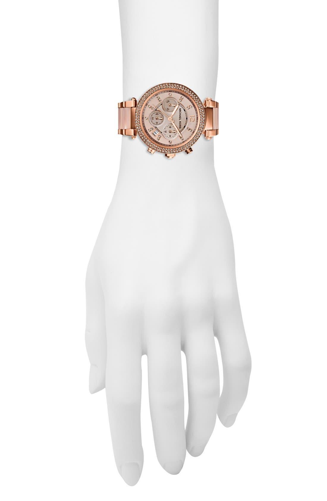 Alternate Image 4  - Michael Kors 'Parker' Blush Acetate Link Chronograph Watch, 39mm