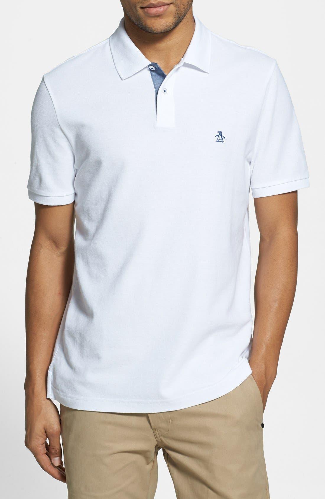 'Daddy-O' Piqué Polo,                         Main,                         color, Bright White