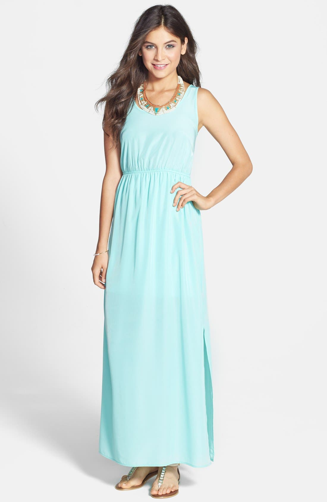Woven Maxi Dress,                         Main,                         color, Mint