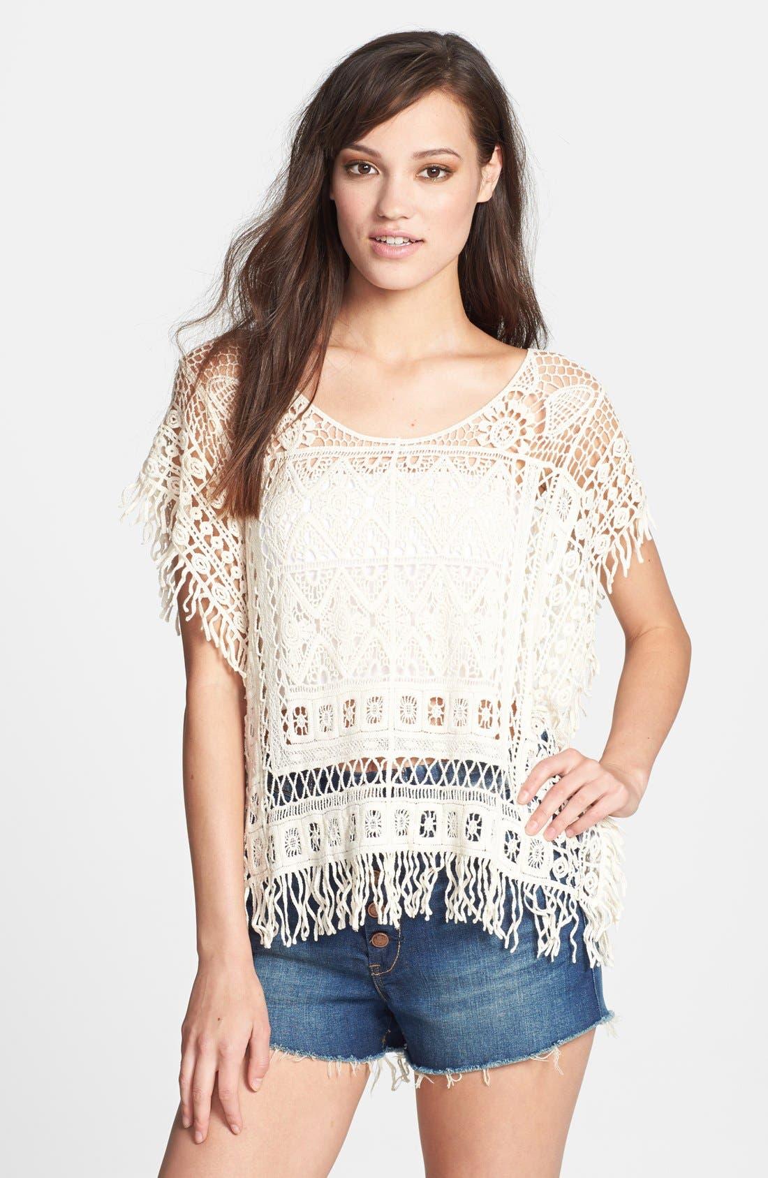 Main Image - Raga Crochet Short Sleeve Poncho