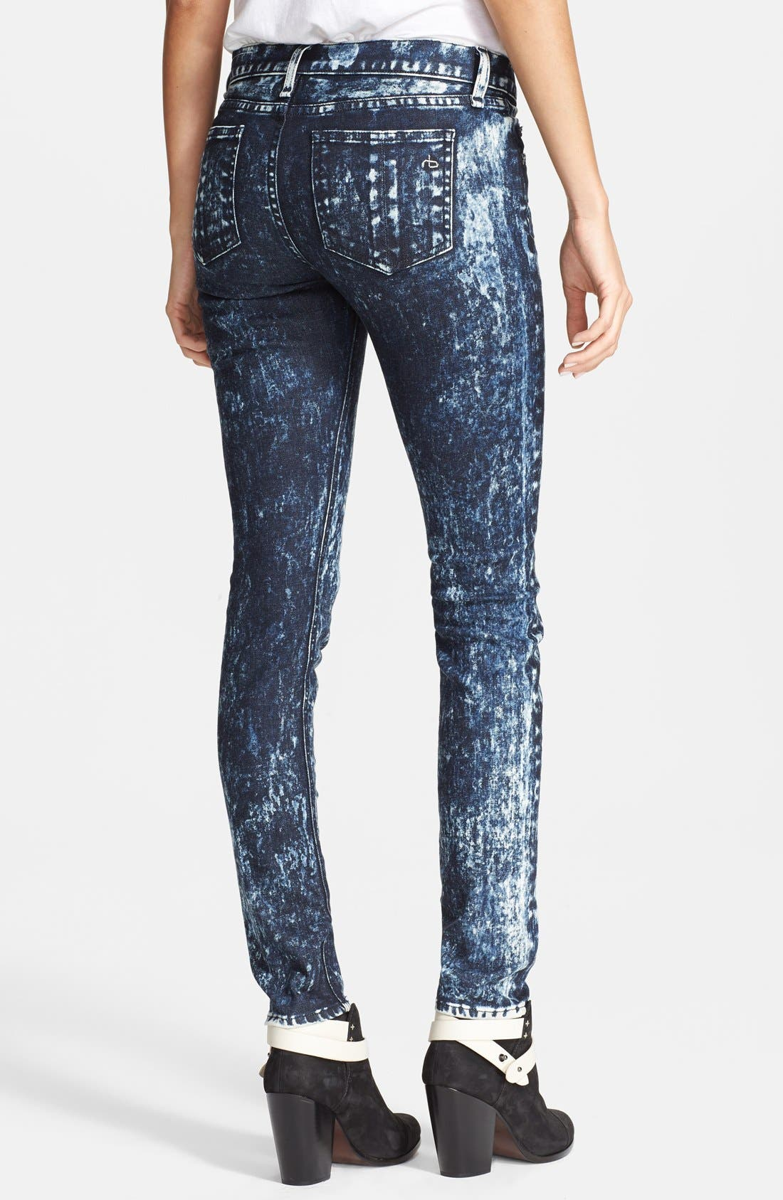 Alternate Image 2  - rag & bone/JEAN Stretch Skinny Jeans (Acid Wash/Black/White)