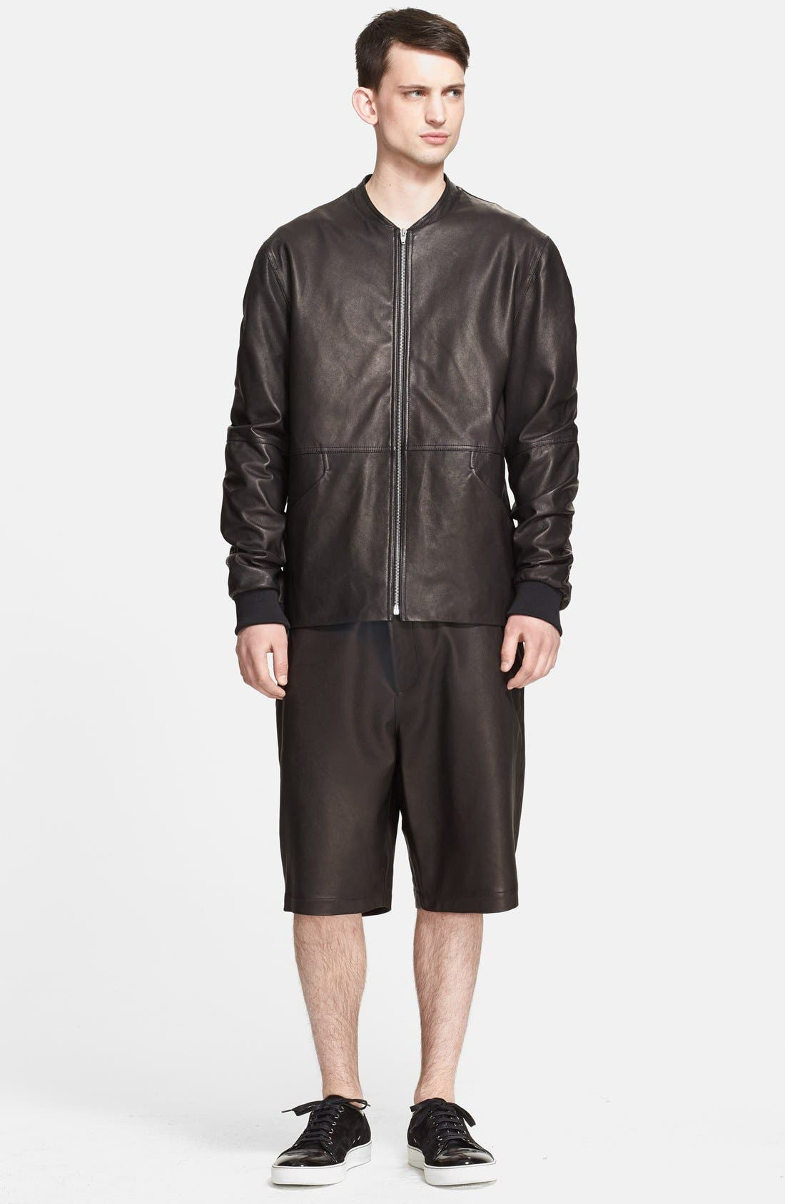 Alternate Image 1 Selected - T by Alexander Wang Leather Bomber Jacket