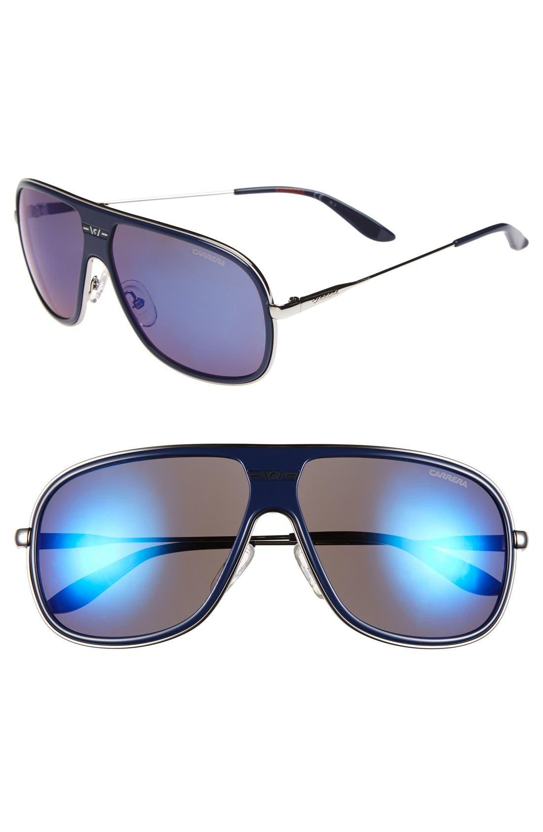 62mm Aviator Sunglasses,                         Main,                         color, Blue
