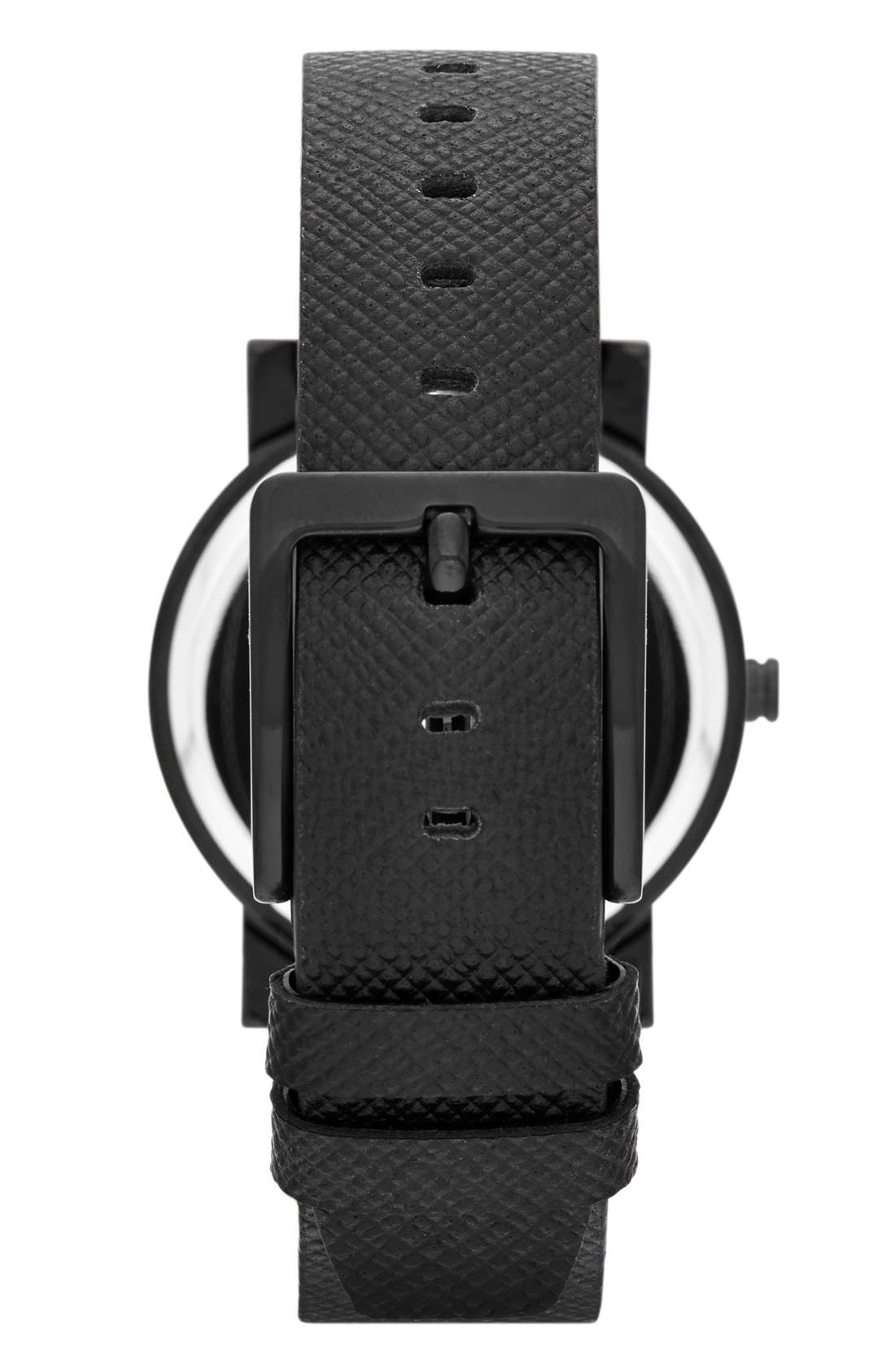 Alternate Image 2  - DKNY 'Soho' Round Leather Strap Watch, 34mm