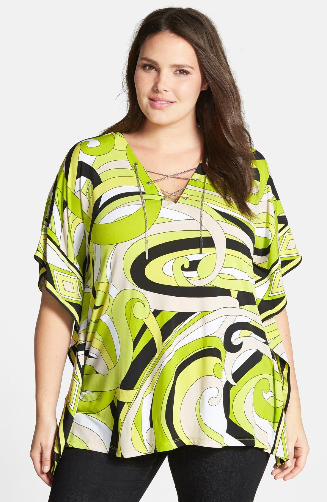 Main Image - MICHAEL Michael Kors Print Lace-Up Tunic (Plus Size)