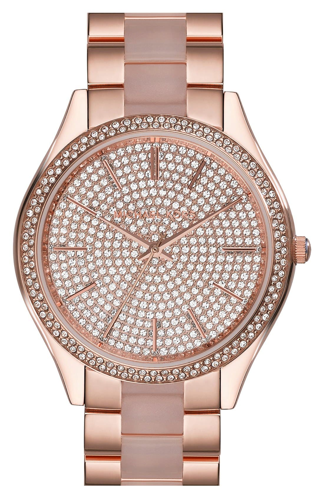 Main Image - Michael Kors 'Slim Runway' Pavé Dial Blush Acetate Link Bracelet Watch, 42mm