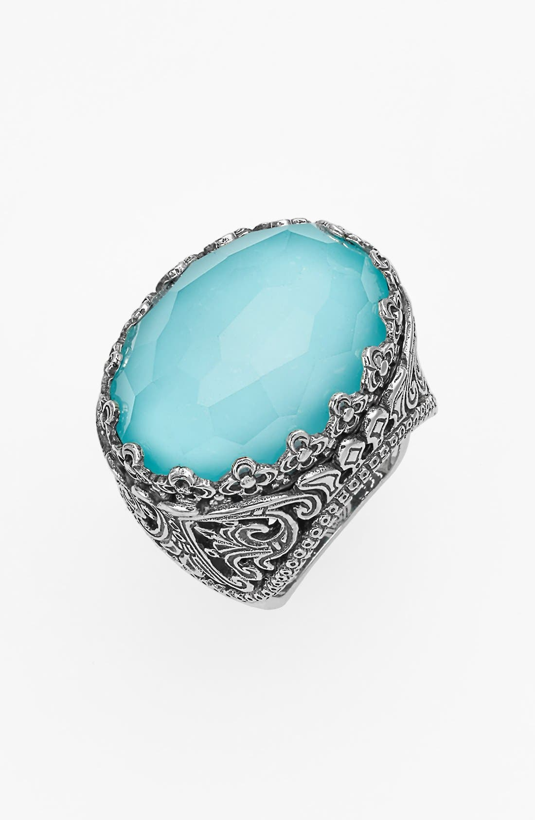 'Aegean' Oval Stone Ring,                         Main,                         color, Silver/ Turquoise