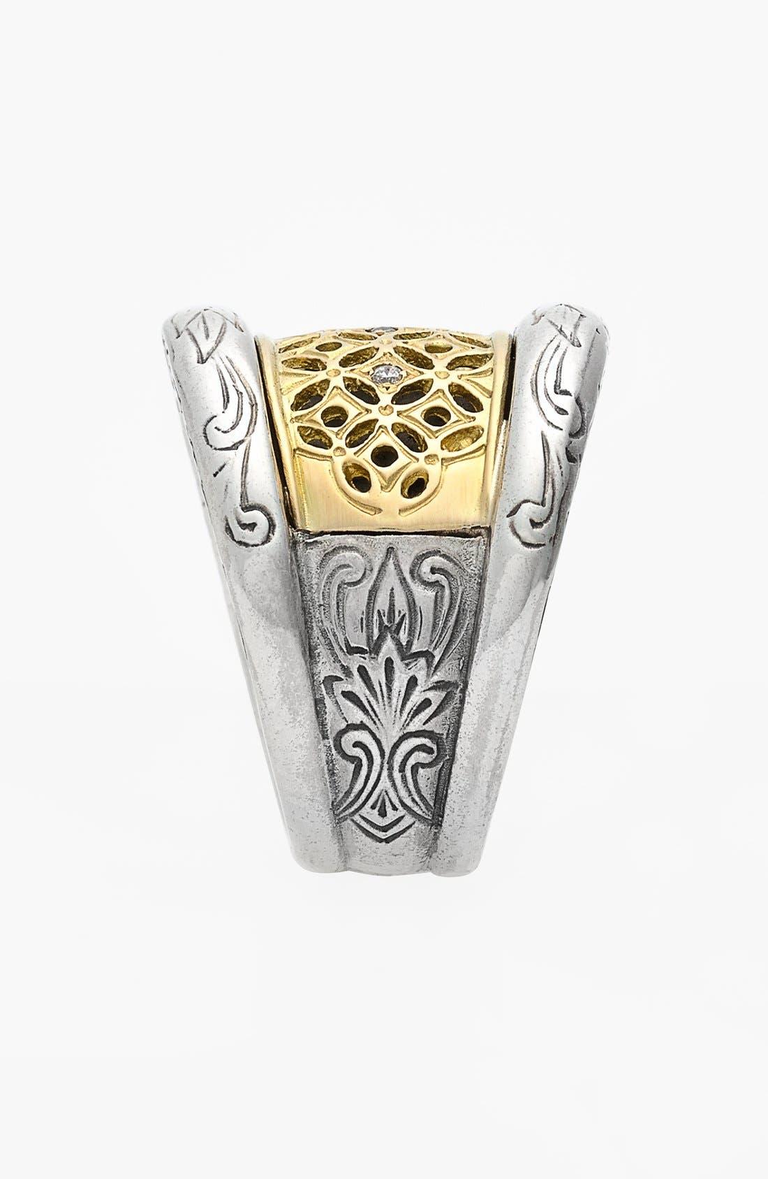 'Diamond Classics' Diamond Filigree Ring,                             Alternate thumbnail 2, color,                             Silver/ Gold