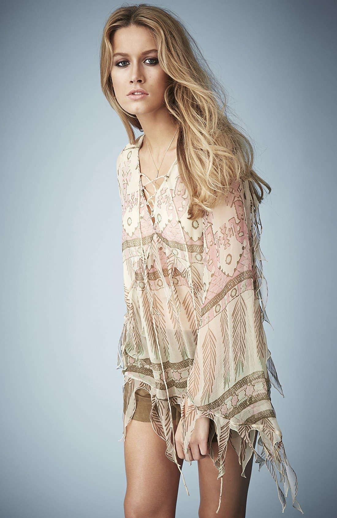 Main Image - Kate Moss for Topshop Tassel Feather Print Blouse
