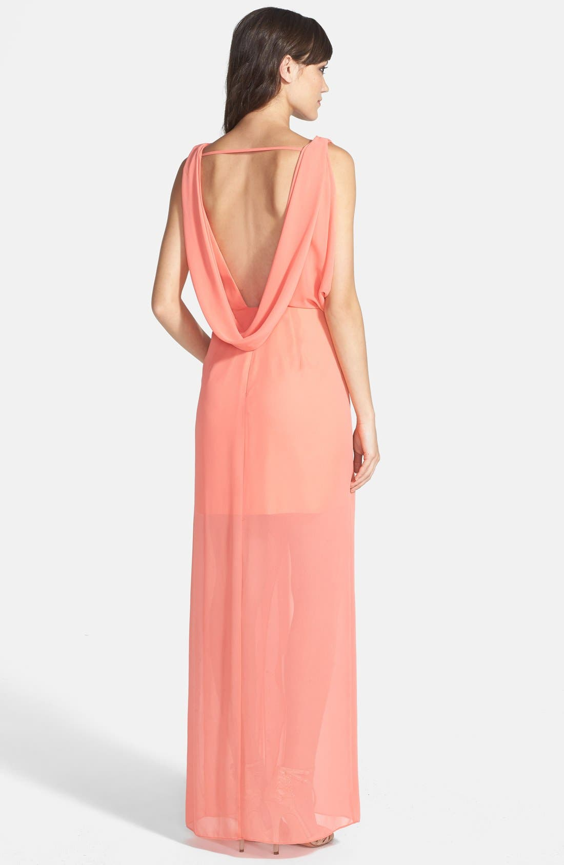 Alternate Image 2  - Hailey by Adrianna Papell Draped Chiffon Gown