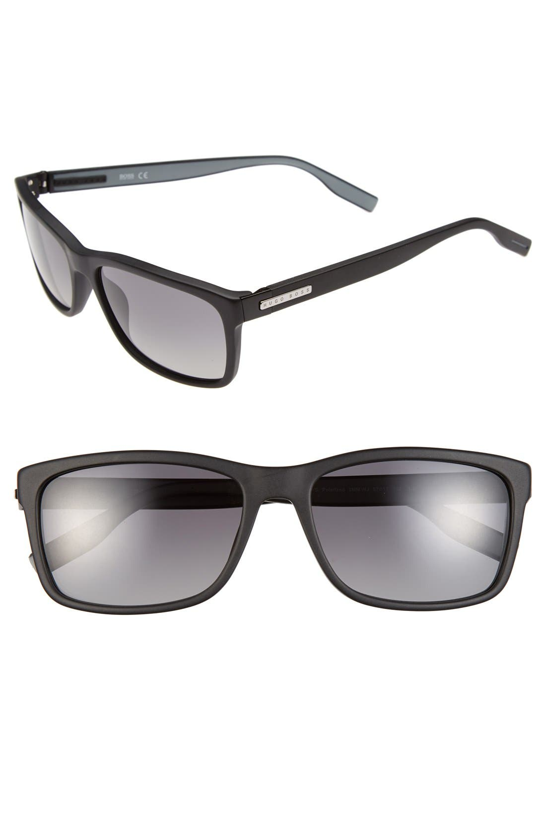 Main Image - BOSS 57mm Polarized Retro Sunglasses