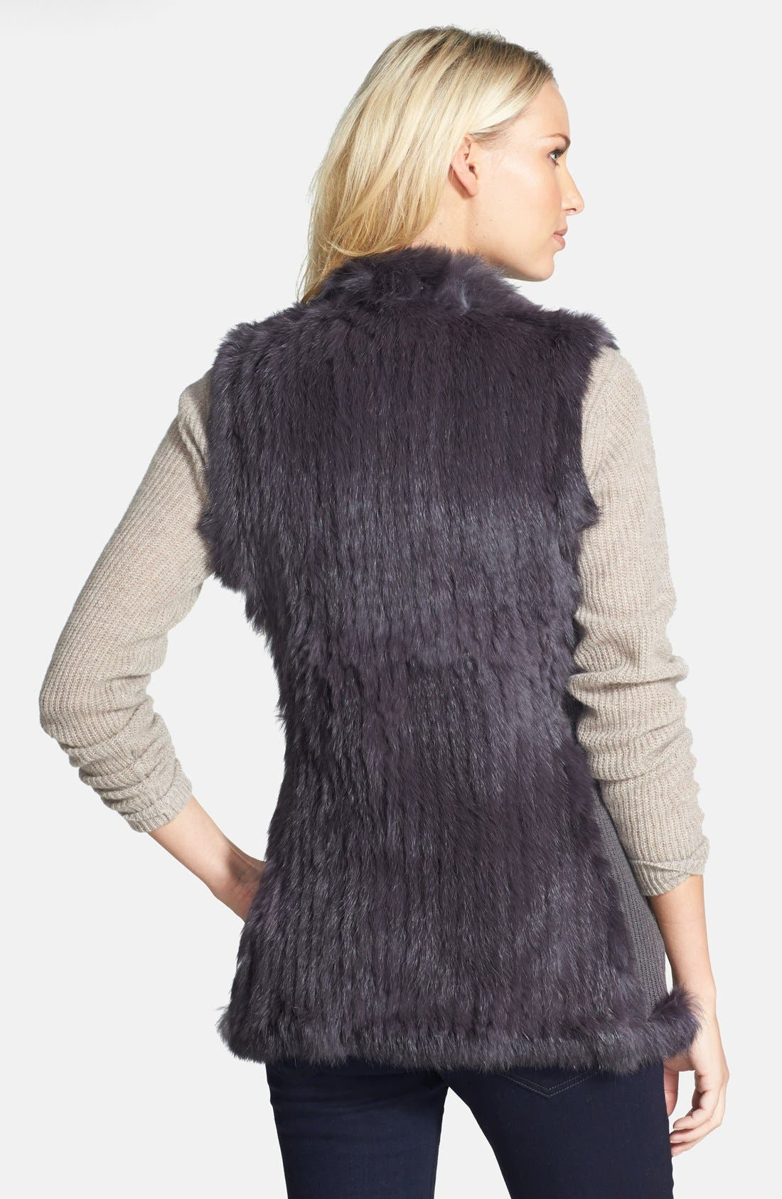 Genuine Rabbit Fur & Knit Vest,                             Alternate thumbnail 2, color,                             Charcoal