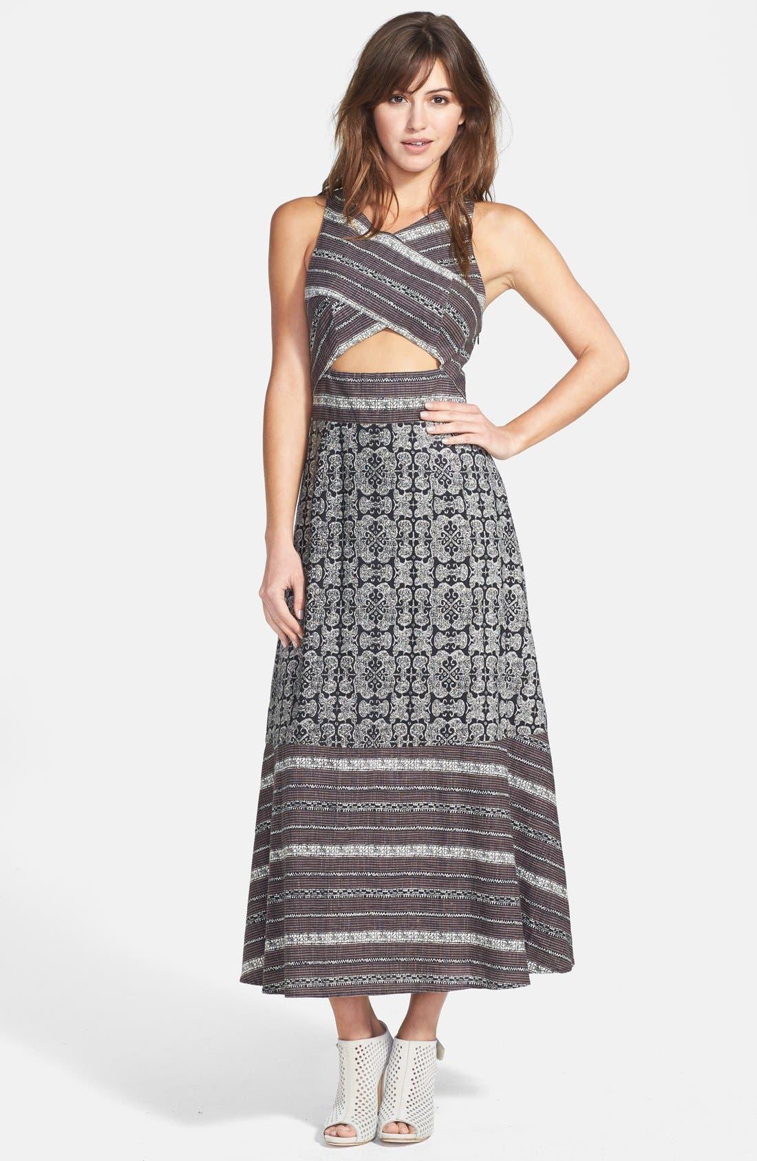 Main Image - Free People 'Tribal Tale' Cutout Mixed Print Midi Dress