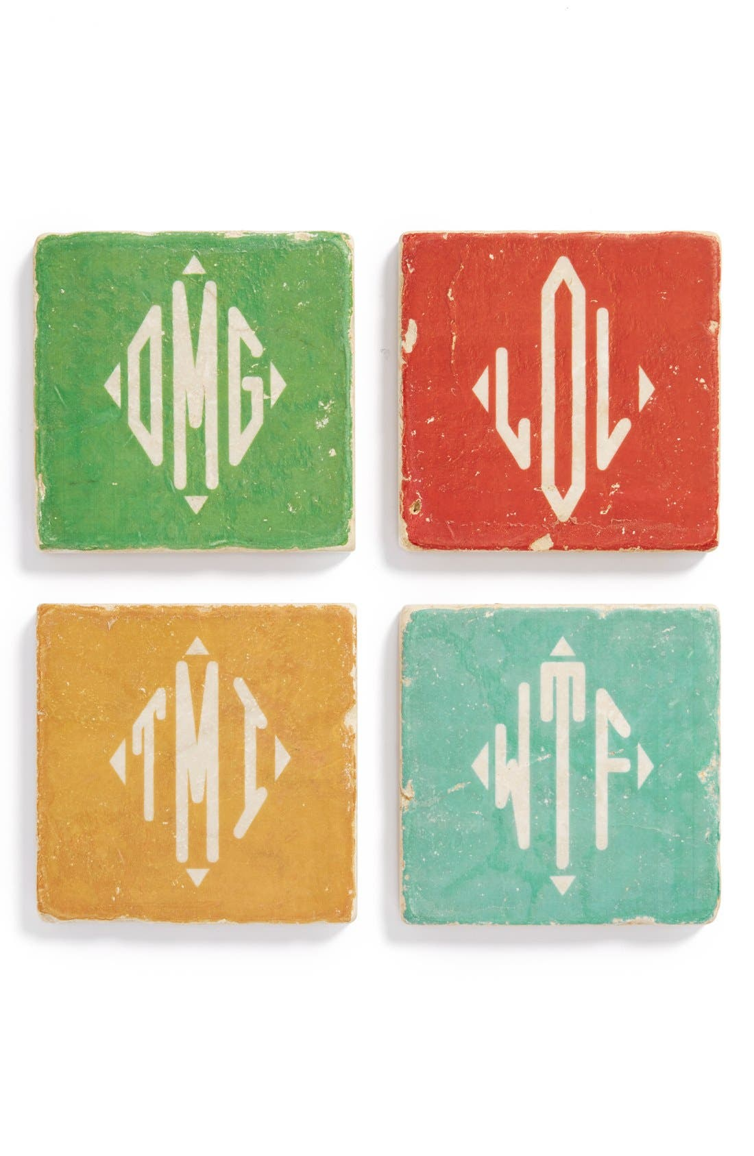 Alternate Image 1 Selected - Studio Vertu 'OMG' Monogram Marble Coasters (Set of 4)