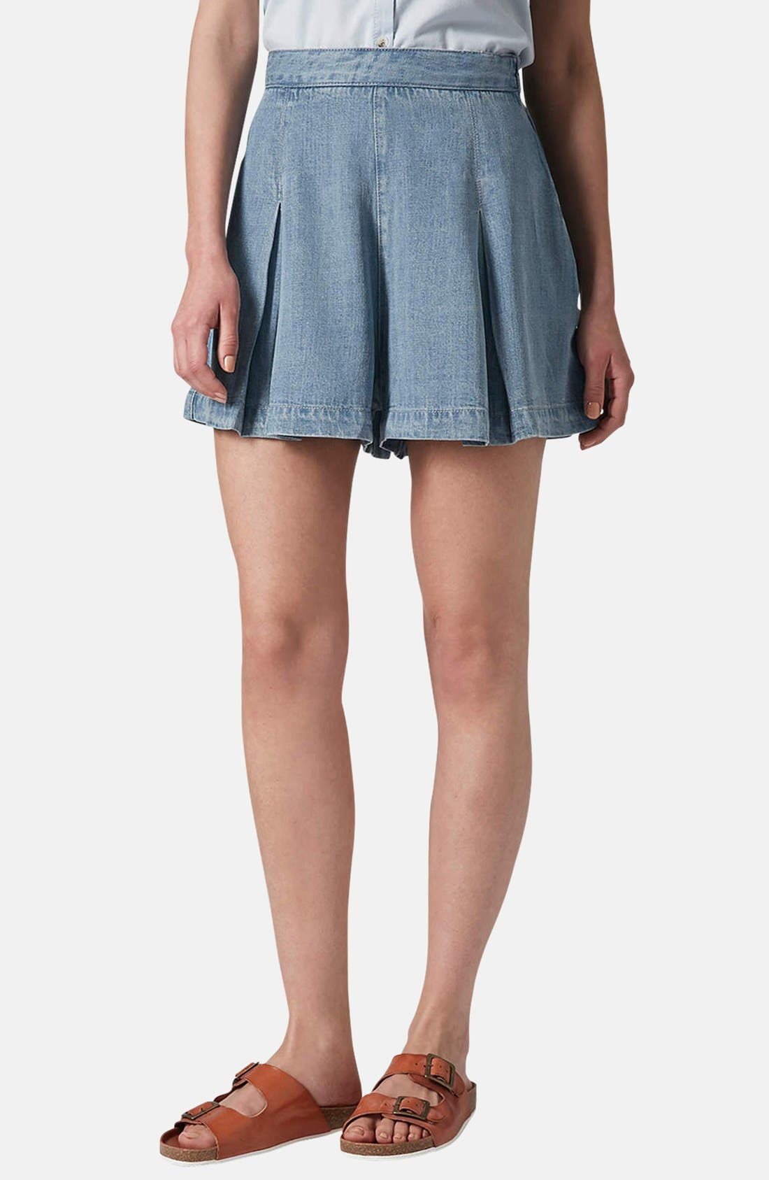Alternate Image 1 Selected - Topshop Moto Pleated Denim Skort