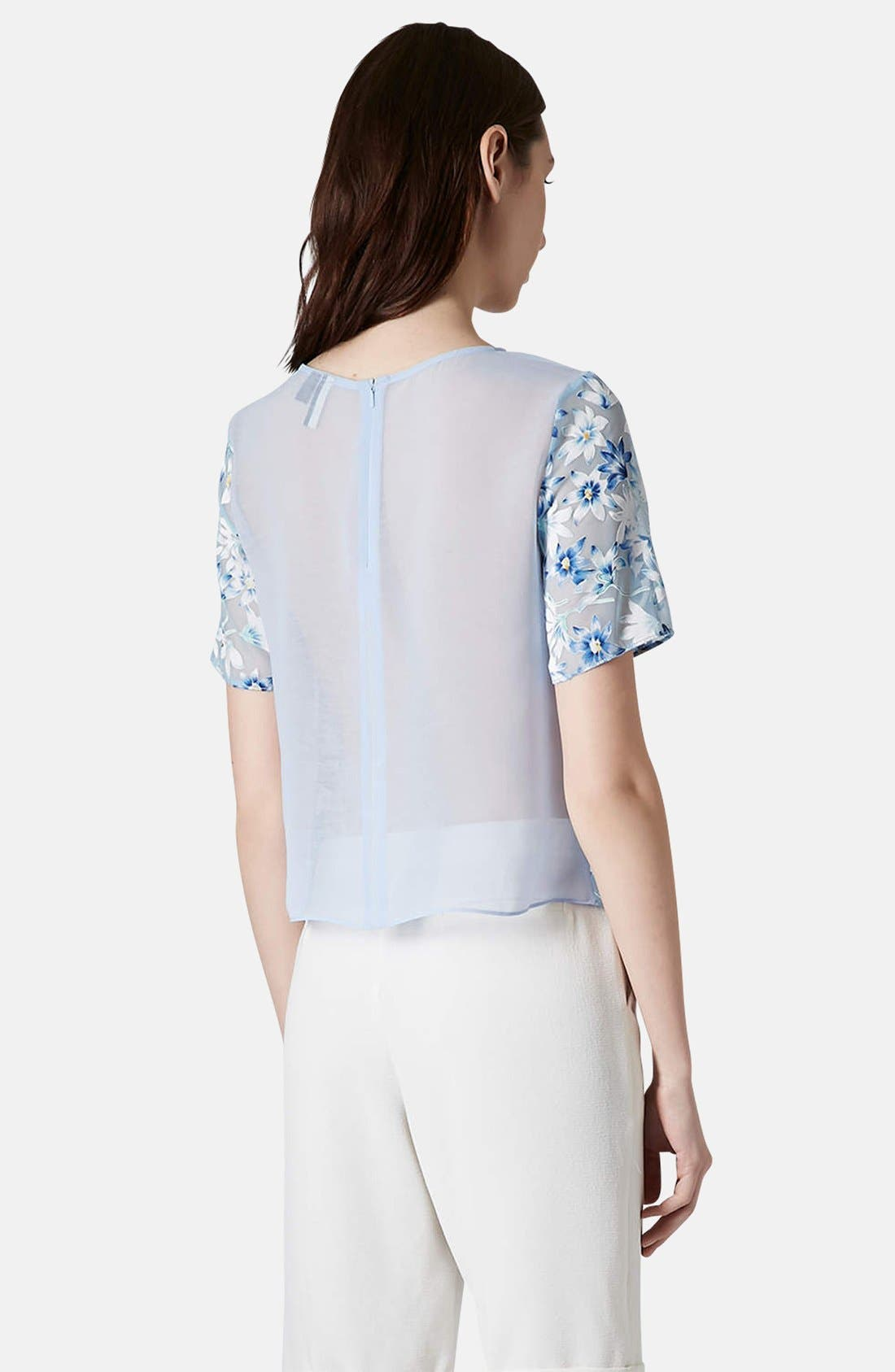 Alternate Image 2  - Topshop Mixed Floral Woven Top