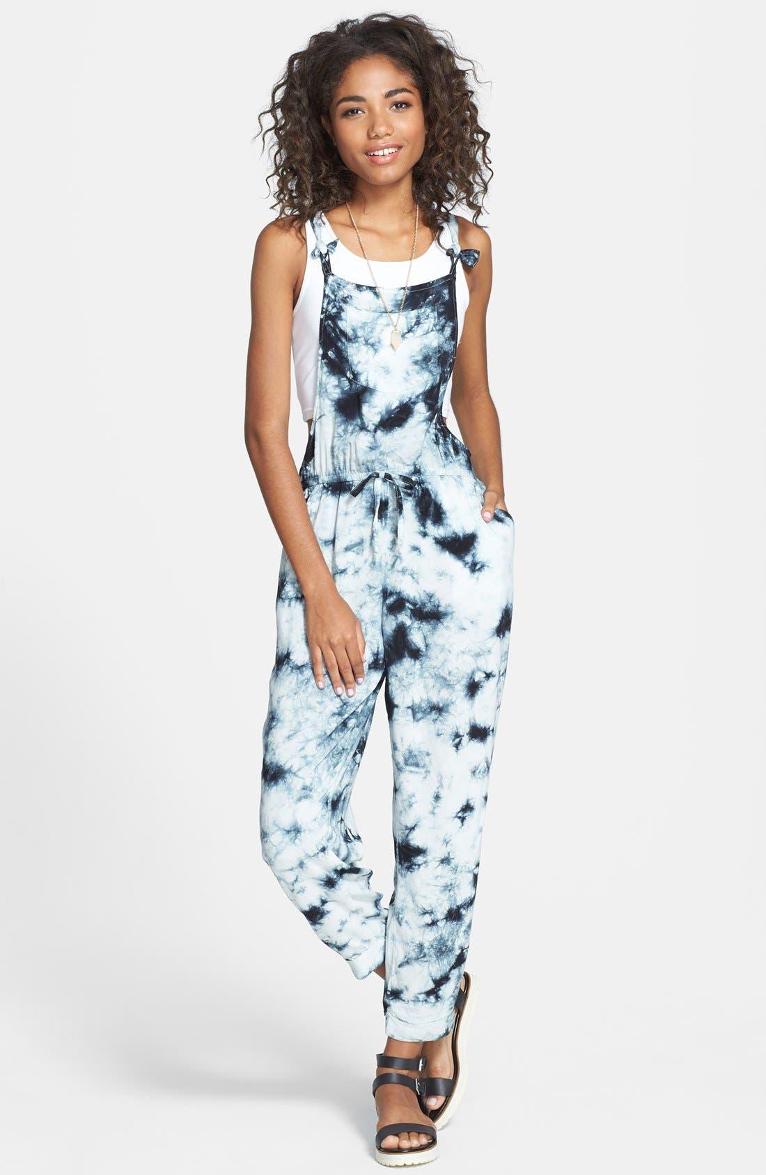 Alternate Image 1 Selected - Wyldehart 'Lalis' Print Drawstring Jumpsuit (Juniors)