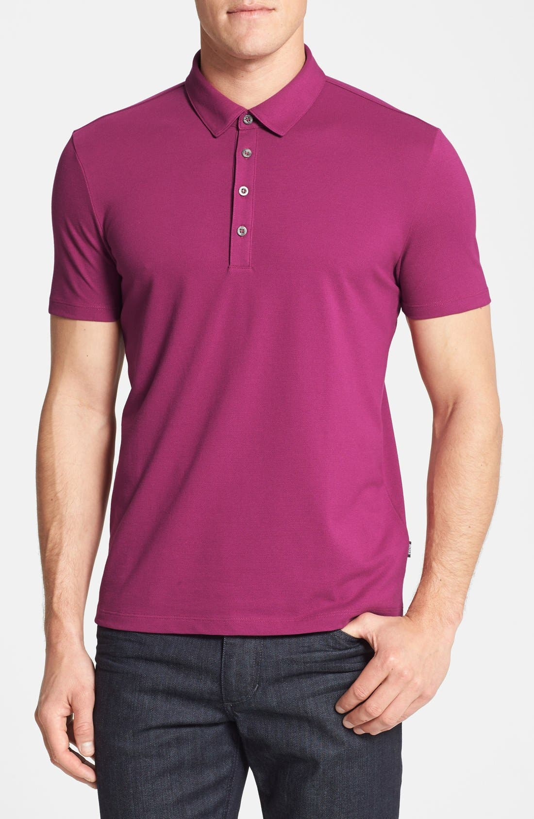 HUGO BOSS 'Firenze 43' Regular Fit Jersey Polo,                             Main thumbnail 1, color,                             Berry