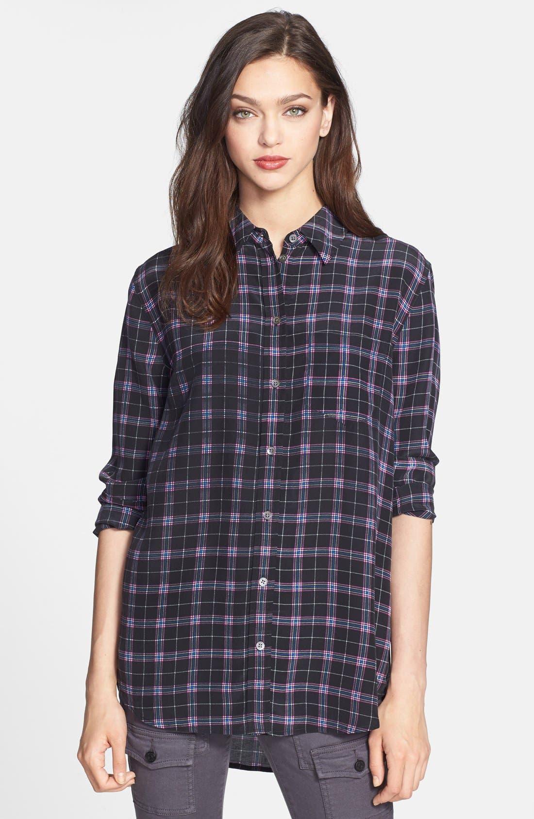 'Reese' Print Silk Shirt,                             Main thumbnail 1, color,                             True Black Multi