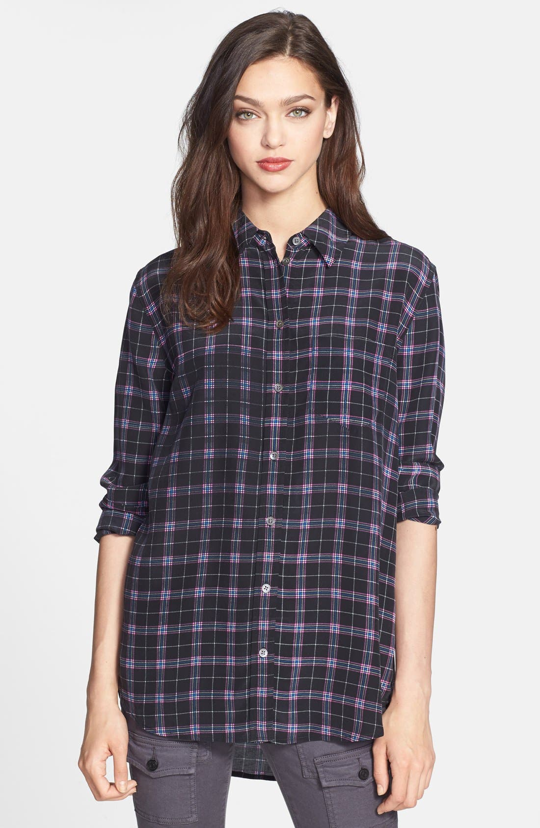 'Reese' Print Silk Shirt,                         Main,                         color, True Black Multi