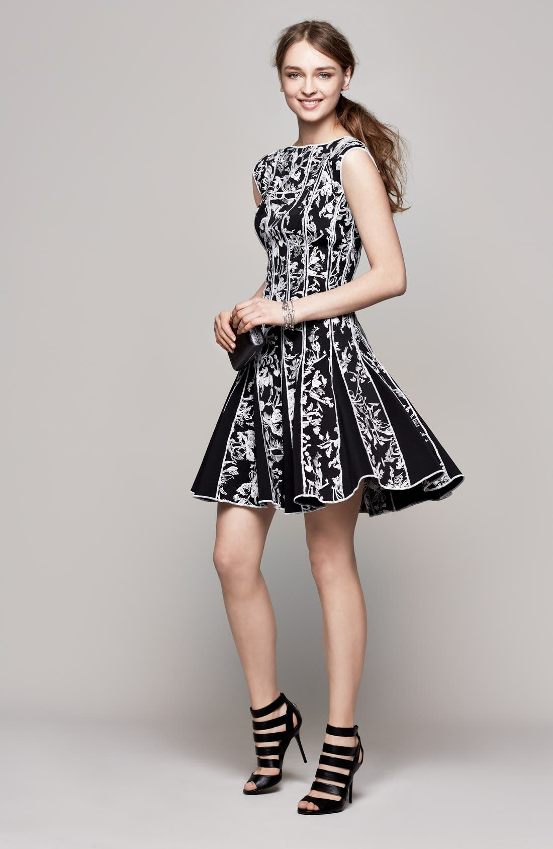Alternate Image 2  - Tadashi Shoji Embroidered Neoprene Fit & Flare Dress