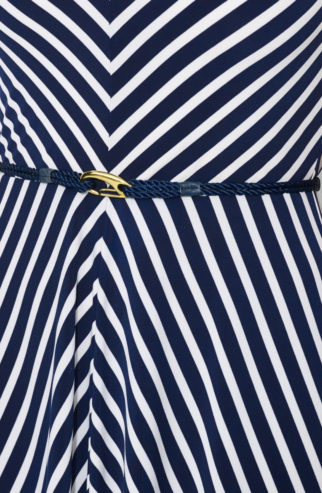 Alternate Image 3  - Lauren Ralph Lauren Belted Stripe Jersey Dress (Plus Size)