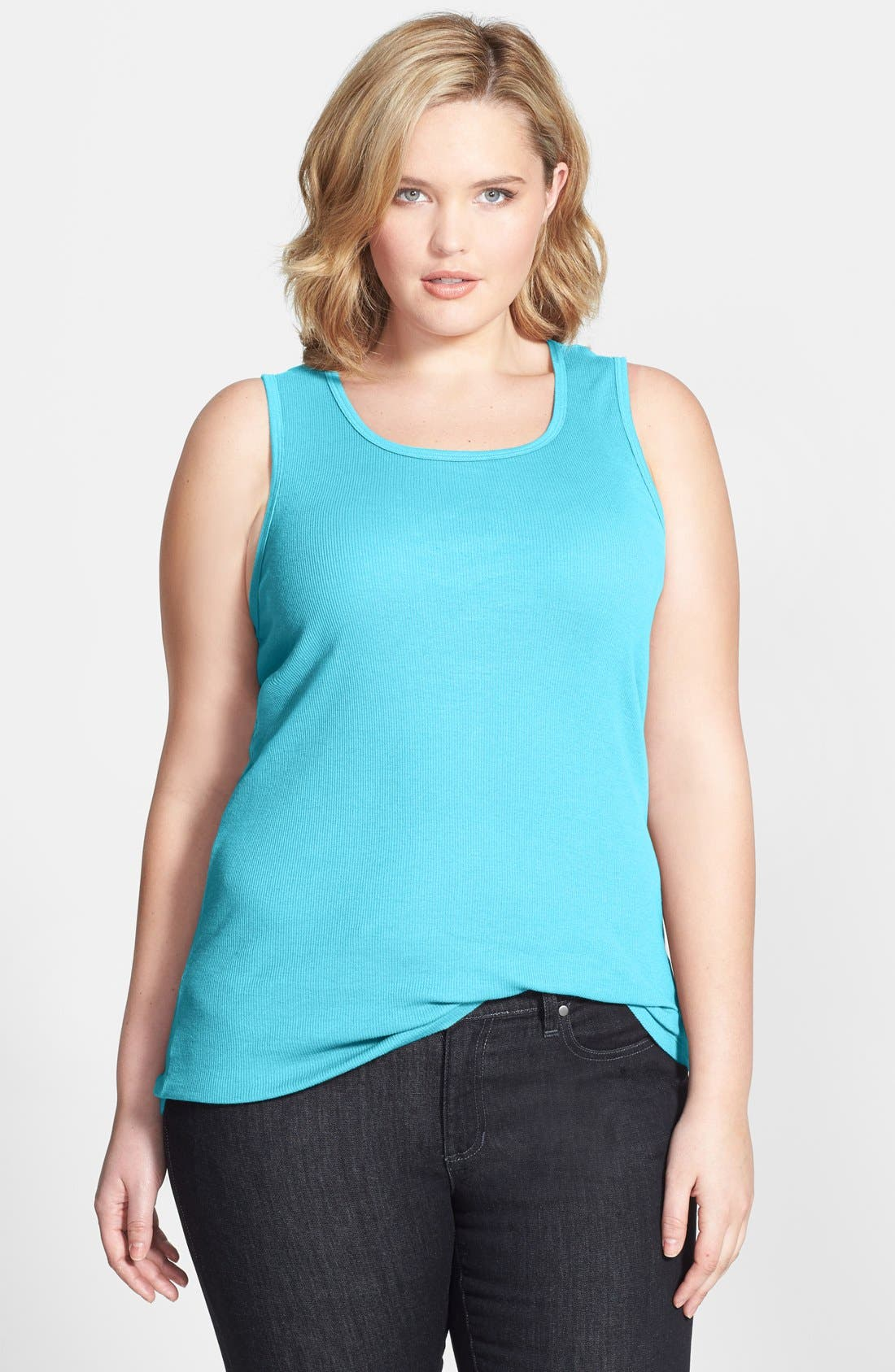 Alternate Image 1 Selected - Allen Allen Ribbed Tank (Plus Size)