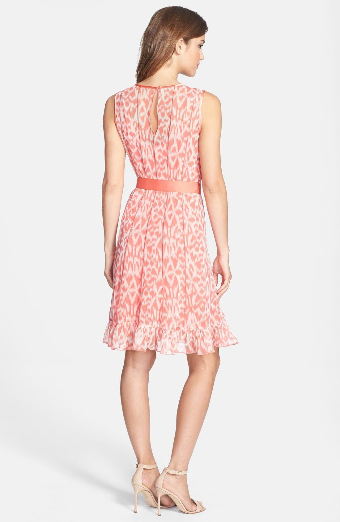 Alternate Image 2  - Eliza J Print Pintuck Chiffon Fit & Flare Dress (Petite)