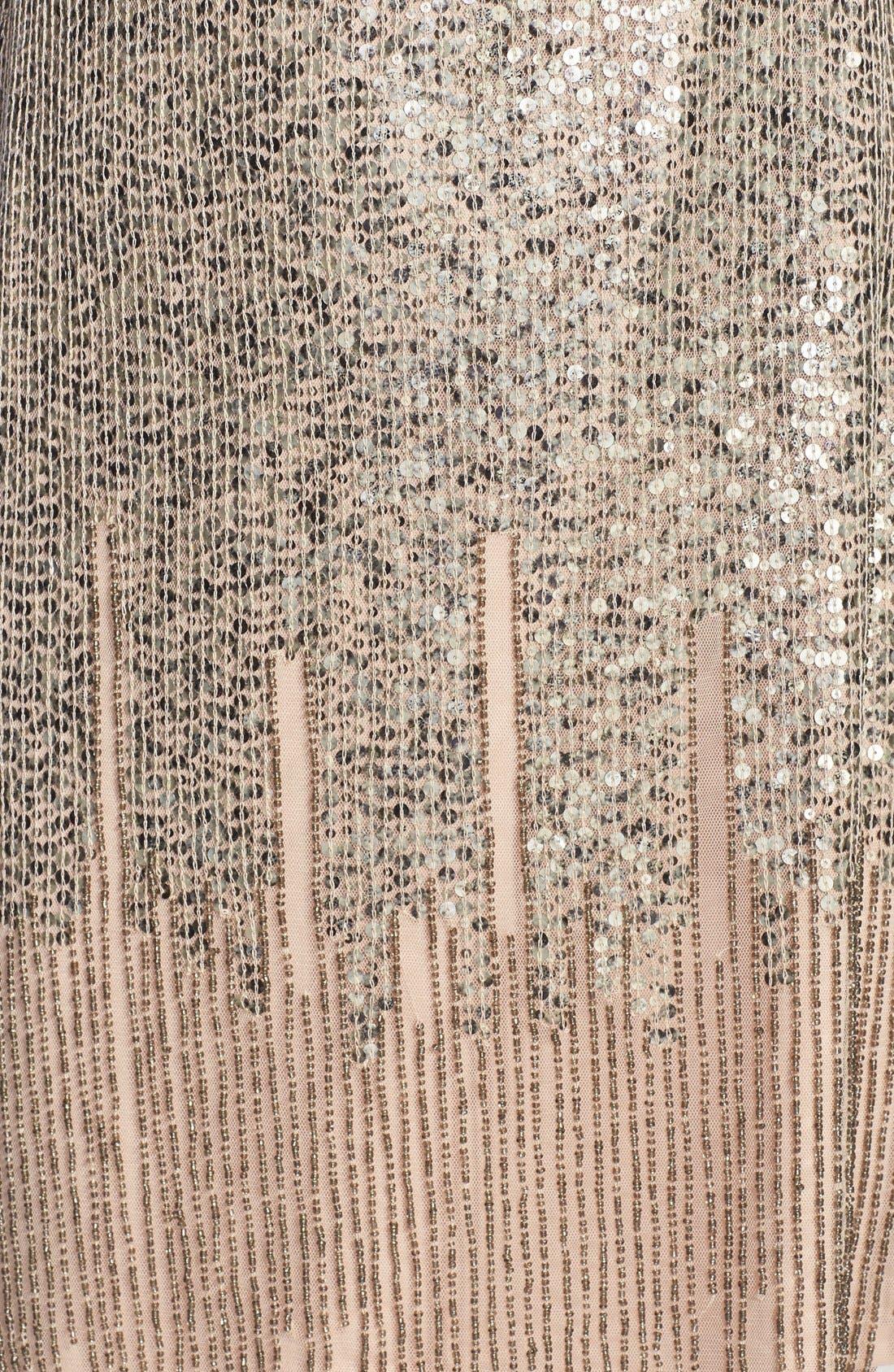 Illusion Yoke Beaded Sheath Dress,                             Alternate thumbnail 3, color,                             Taupe/ Pink