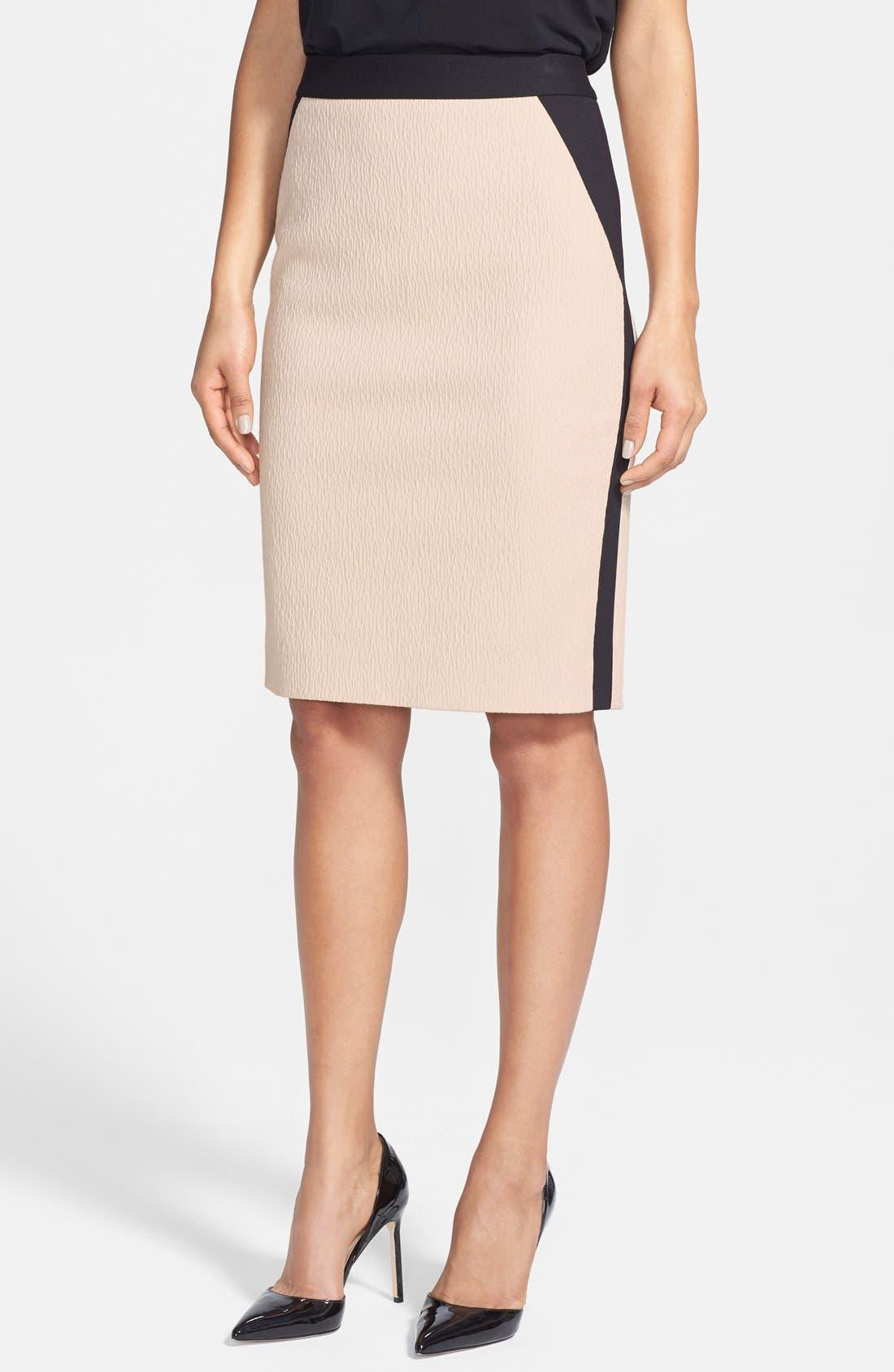 Main Image - Classiques Entier® 'Reid' Textured Cotton Blend & Ponte Skirt