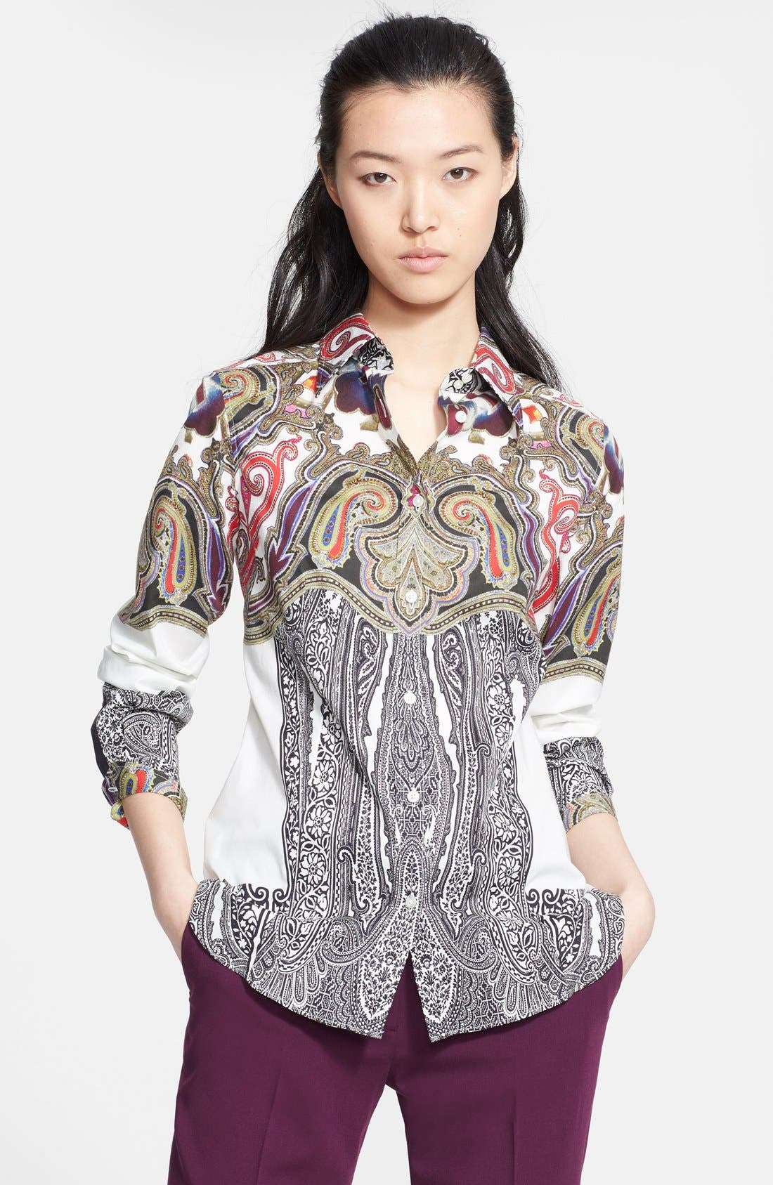 Main Image - Etro Print Stretch Cotton Blouse