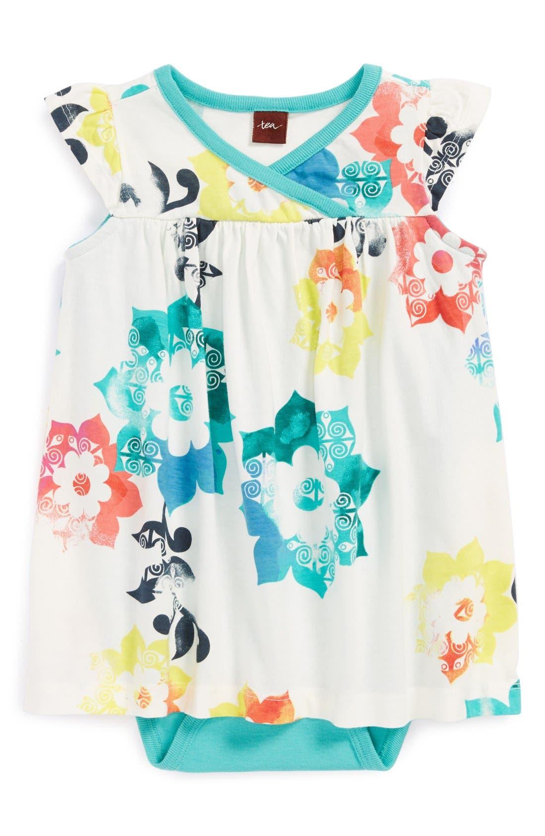Main Image - Tea Collection 'Sandcastle Flower' Dress Bodysuit (Baby Girls)