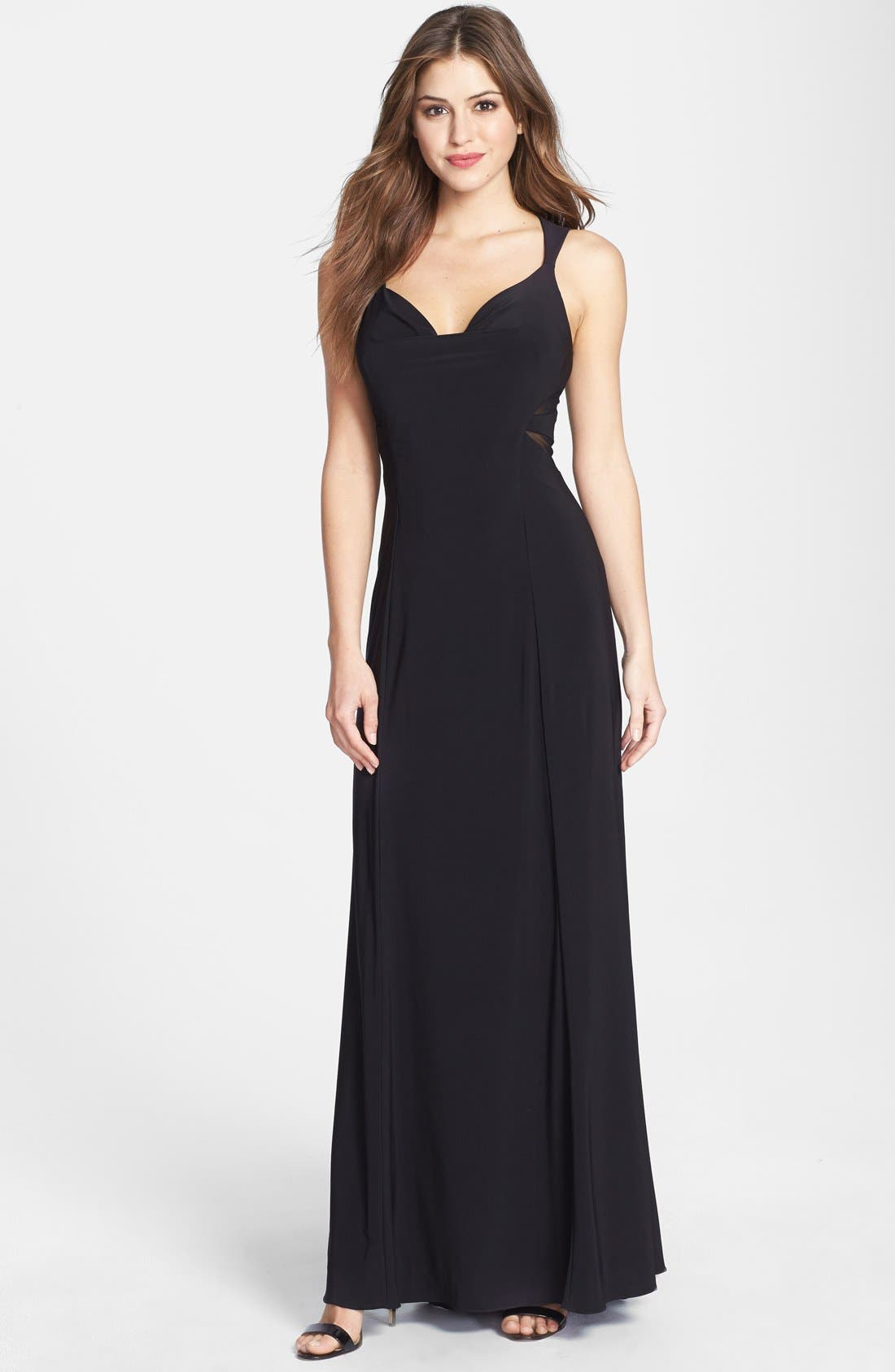 Main Image - Betsy & Adam Mesh Detail Jersey Gown
