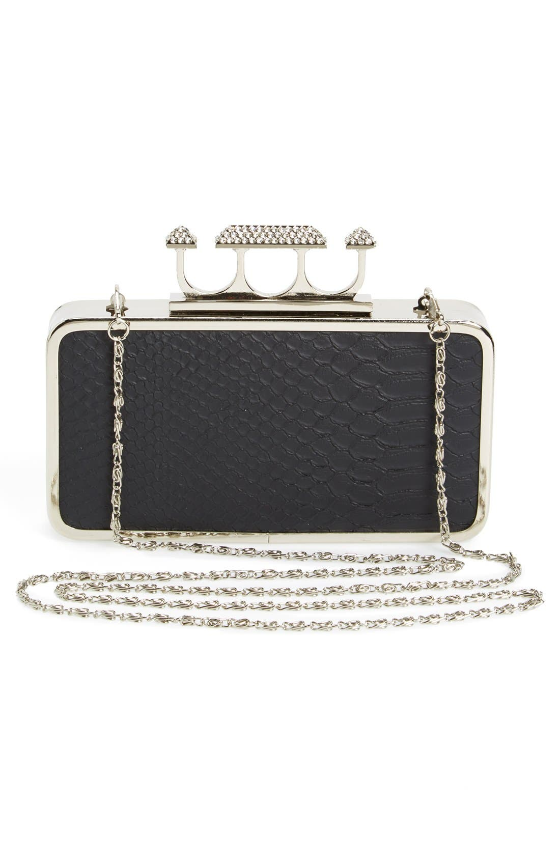 Couture Knuckle Clasp Clutch,                             Alternate thumbnail 3, color,                             Black