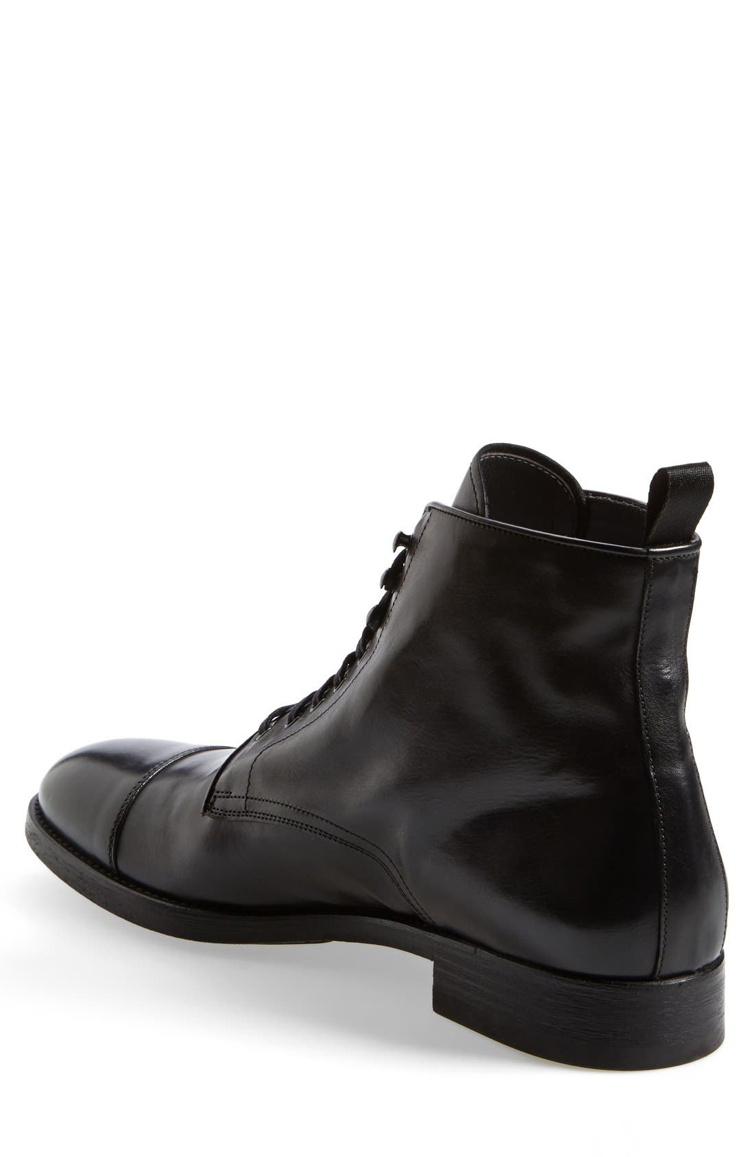 'Stallworth' Cap Toe Boot,                             Alternate thumbnail 2, color,                             Black Leather